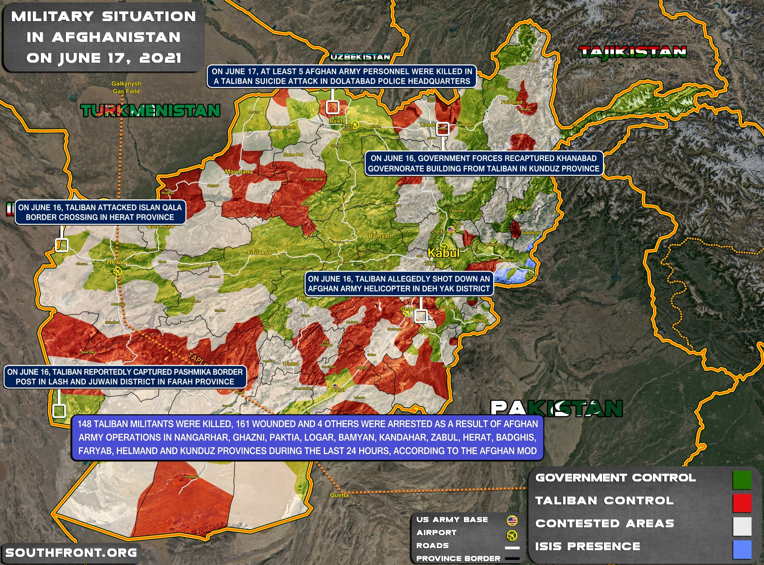 Military Situation In Afghanistan On June 16, 2021 (Map Update)