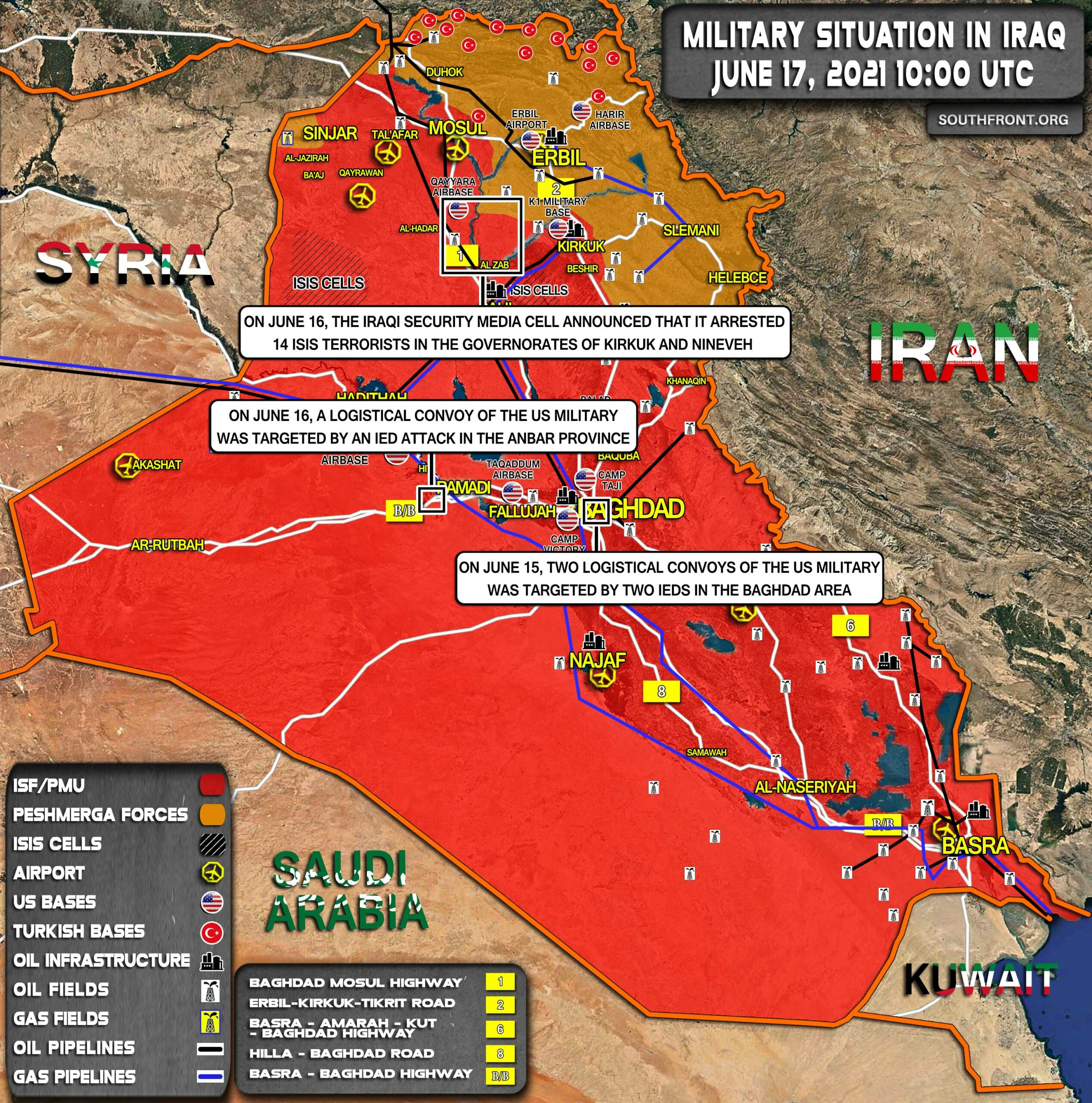 Military Situation In Iraq On June 17, 2021 (Map Update)