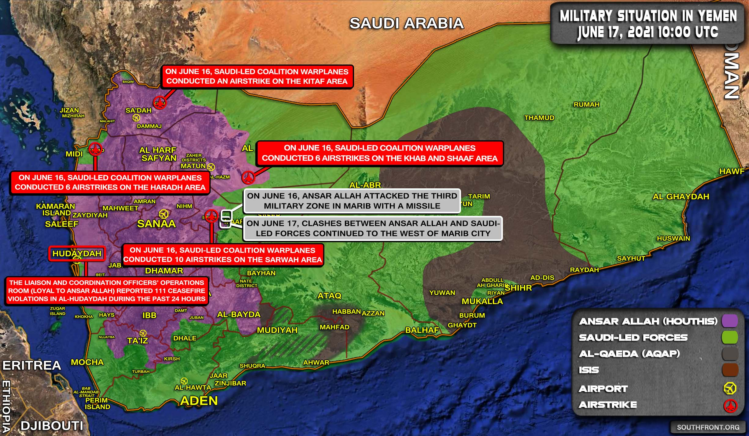 Military Situation In Yemen On June 17, 2021 (Map Update)