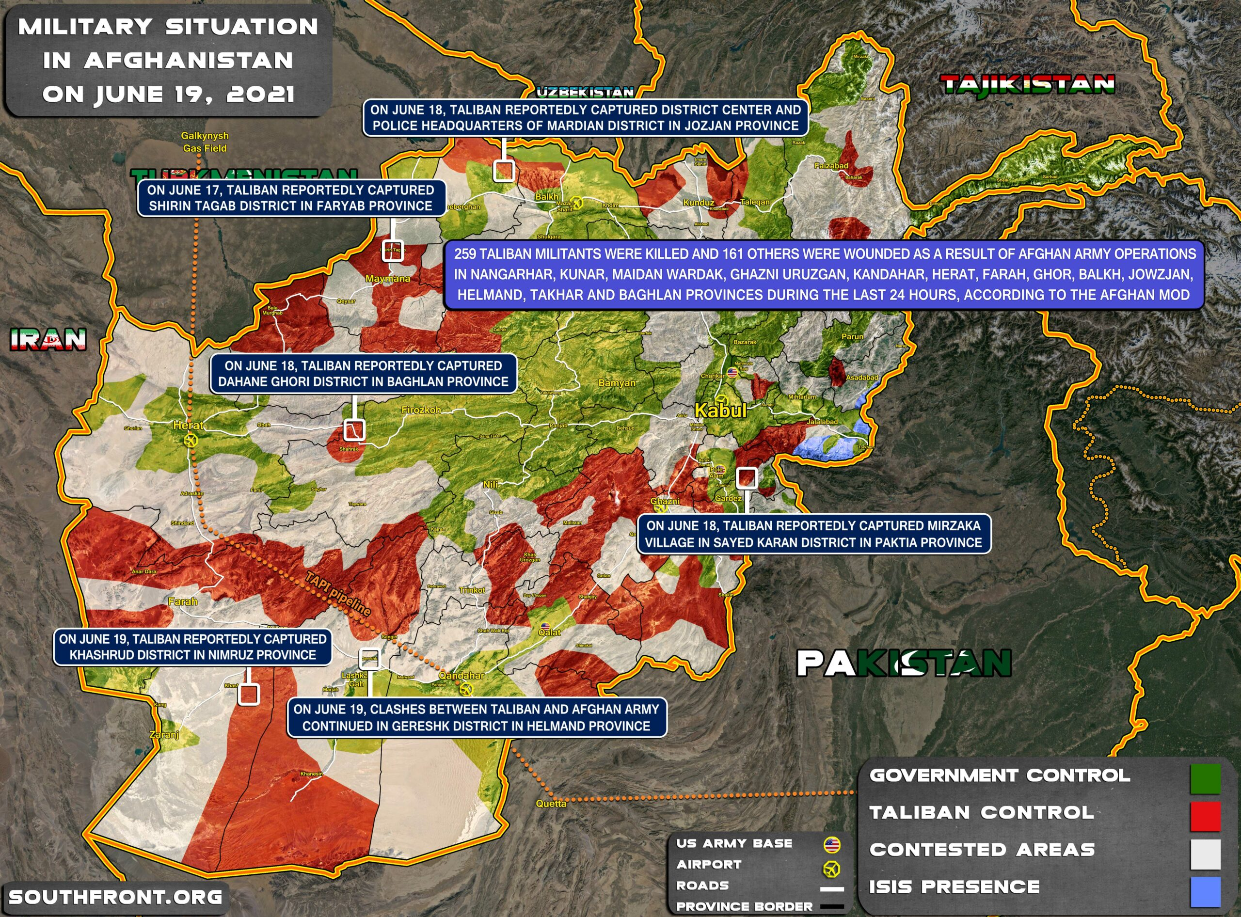 Military Situation In Afghanistan On June 19, 2021 (Map Update)