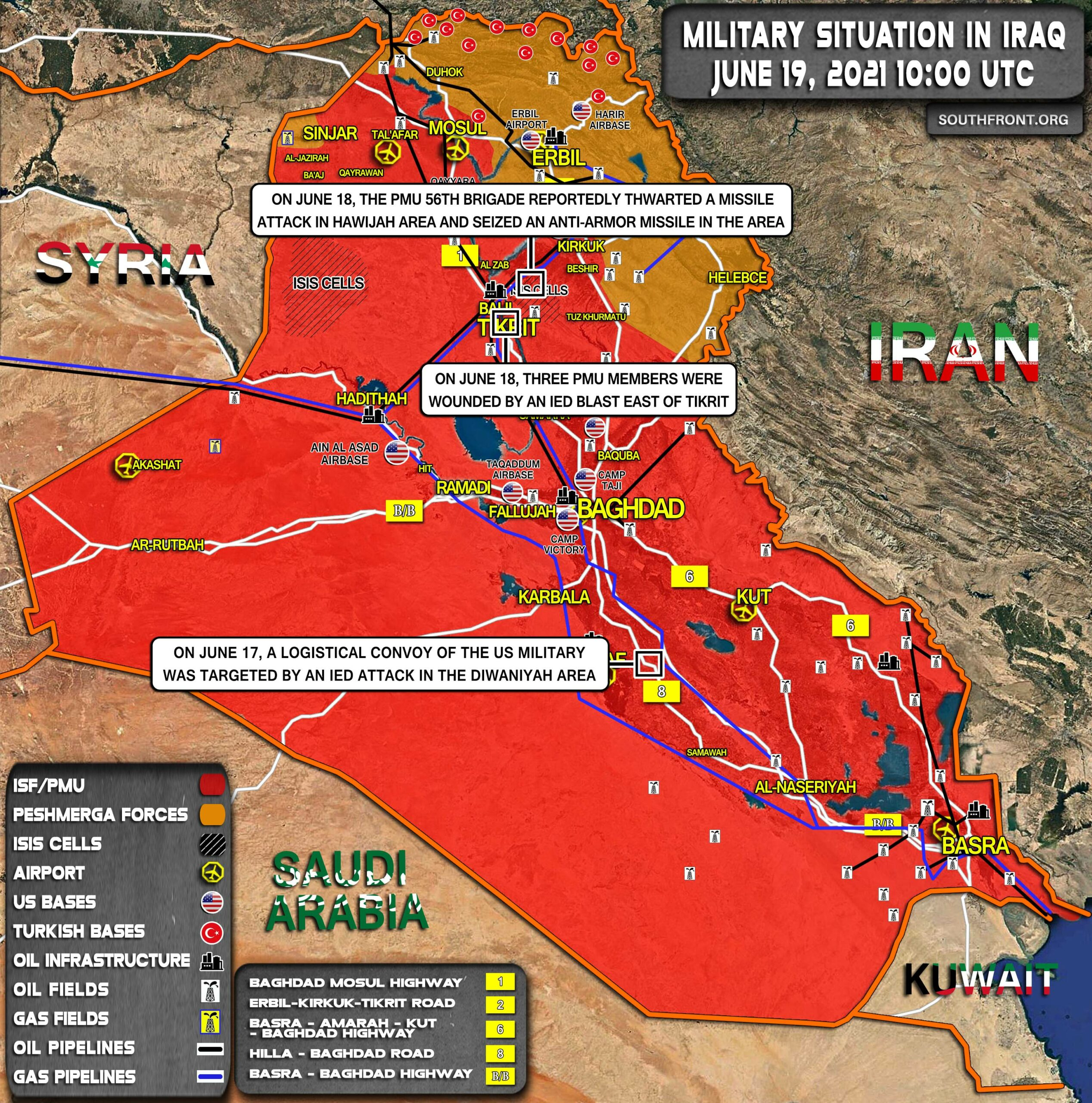 Military Situation In Iraq On June 19, 2021 (Map Update)