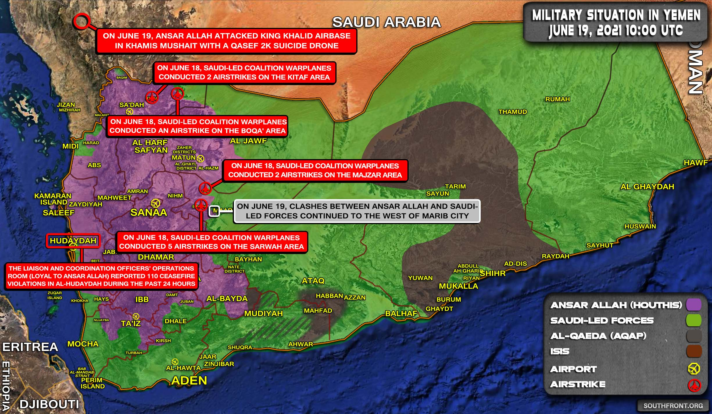 Military Situation In Yemen On June 19, 2021 (Map Update)