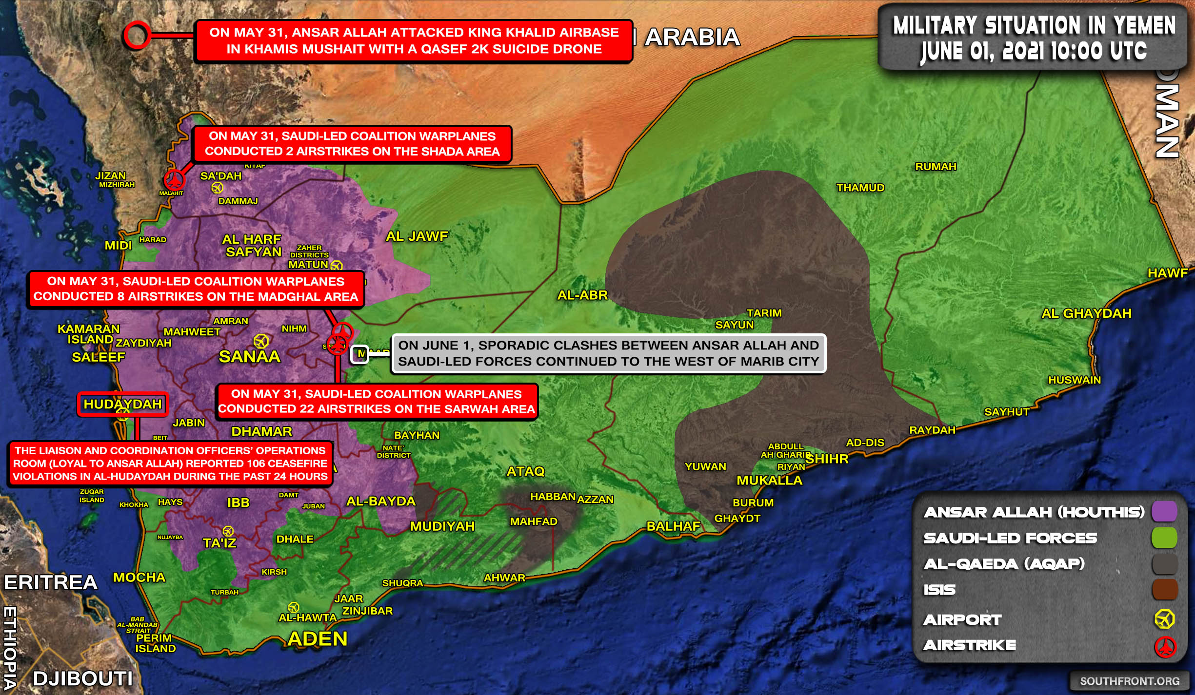 Military Situation In Yemen On June 1, 2021 (Map Update)