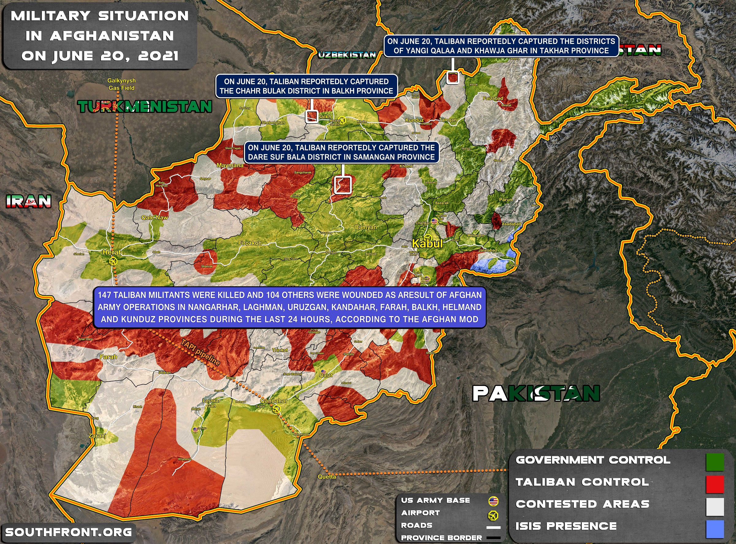 Military Situation In Afghanistan On June 20, 2021 (Map Update)