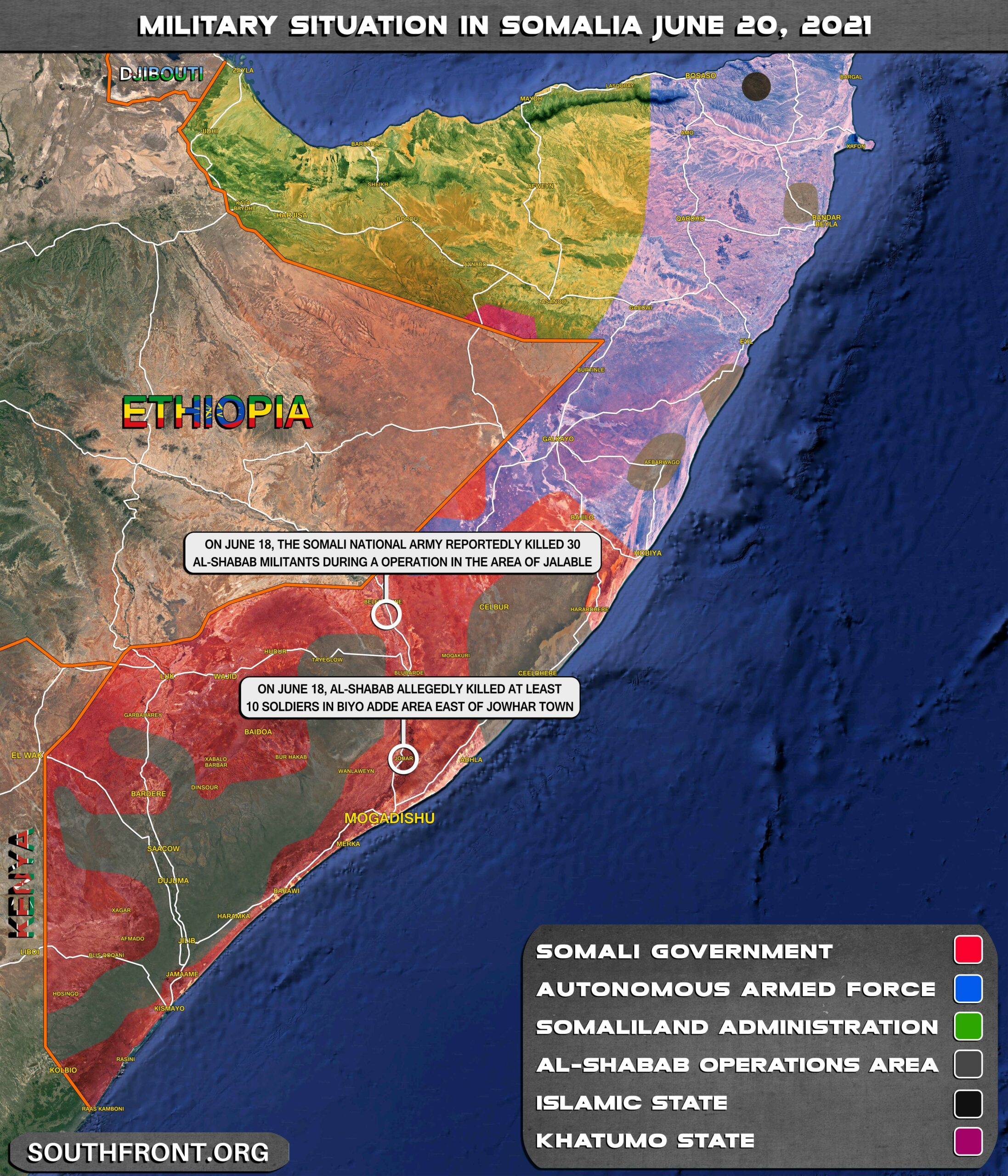 Military Situation In Somalia On June 20, 2021 (Map Update)