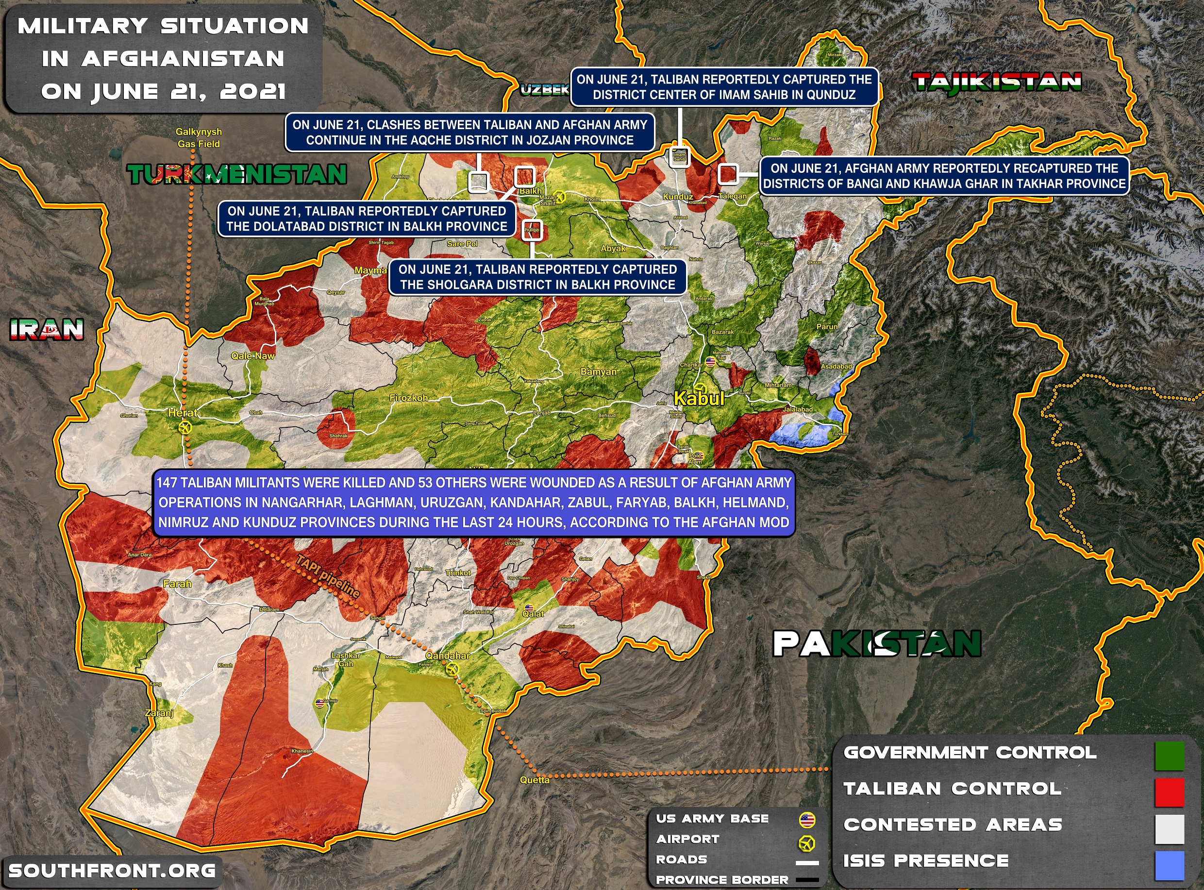 Military Situation In Afghanistan On June 21, 2021 (Map Update)