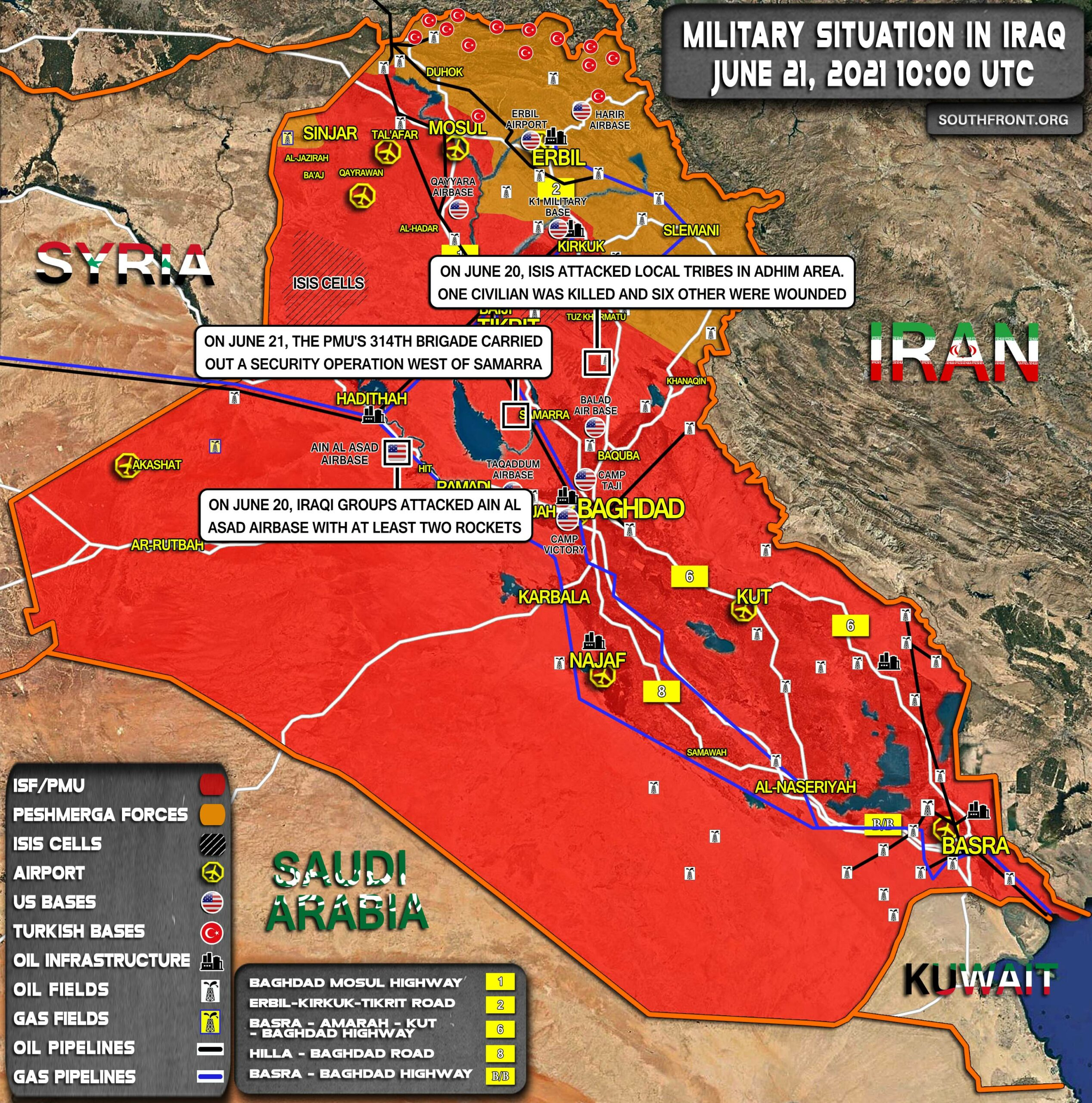 Military Situation In Iraq On June 21, 2021 (Map Update)