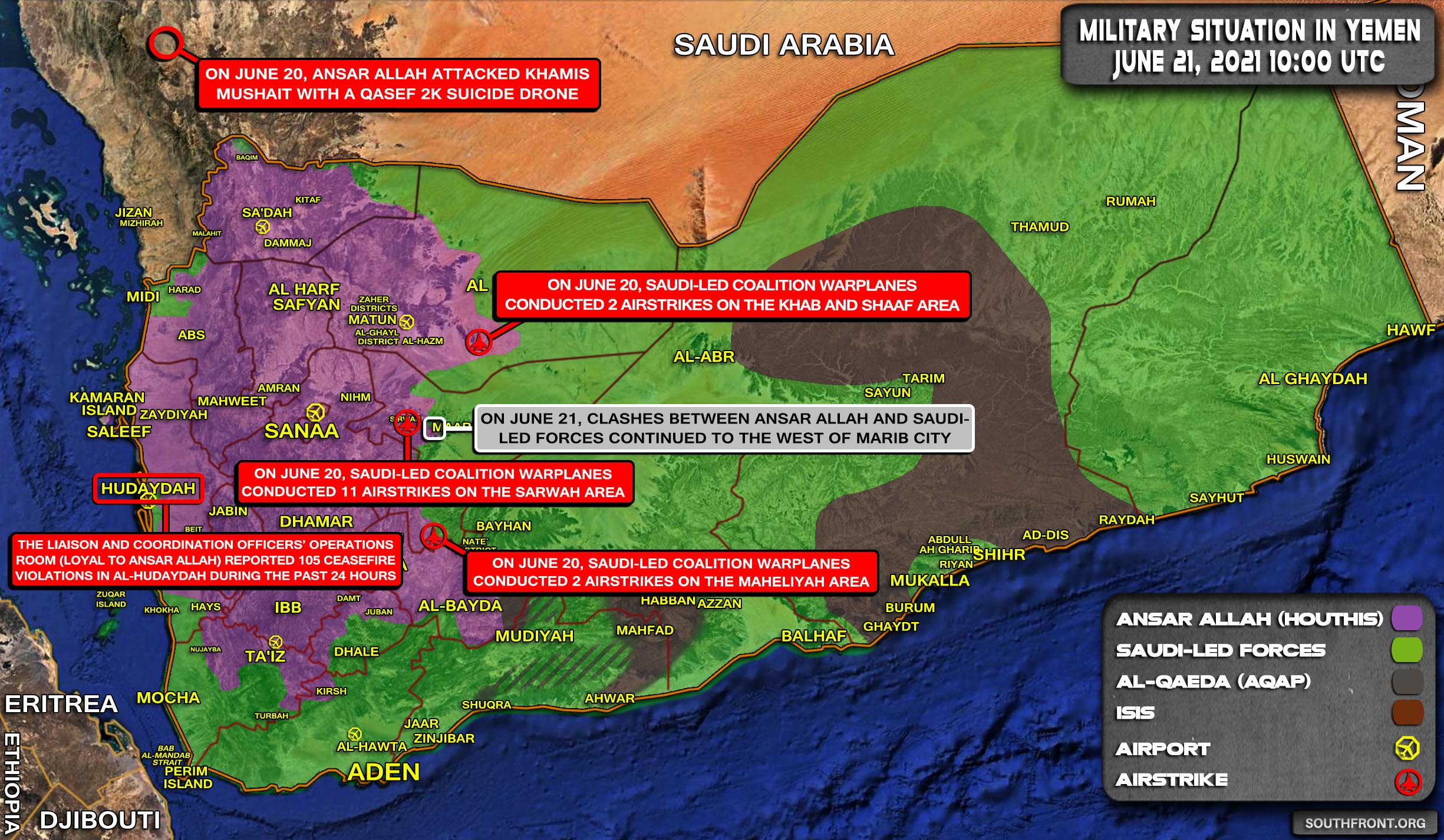 Military Situation In Yemen On June 21, 2021 (Map Update)