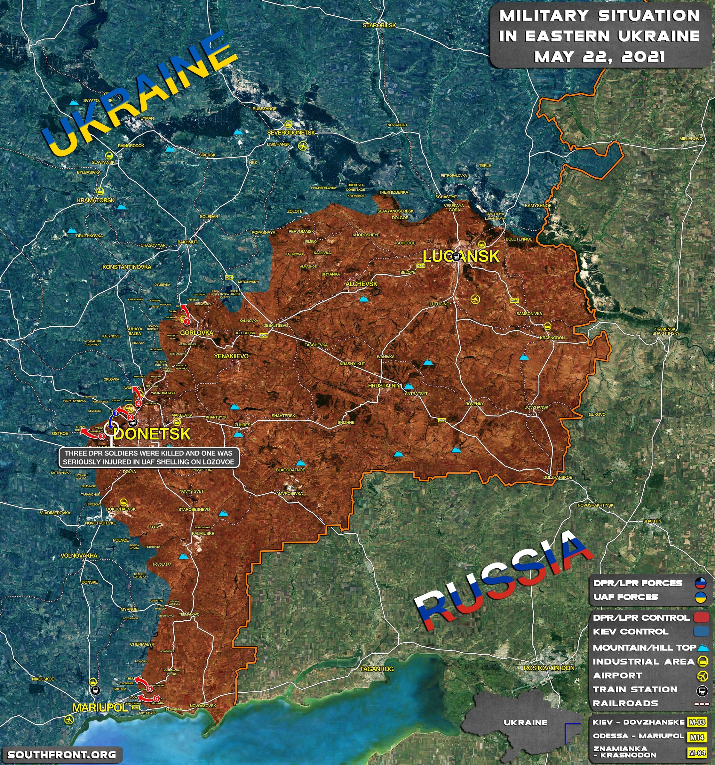 Military Situation In Donetsk People's Republic On June 22, 2021 (Map Update)