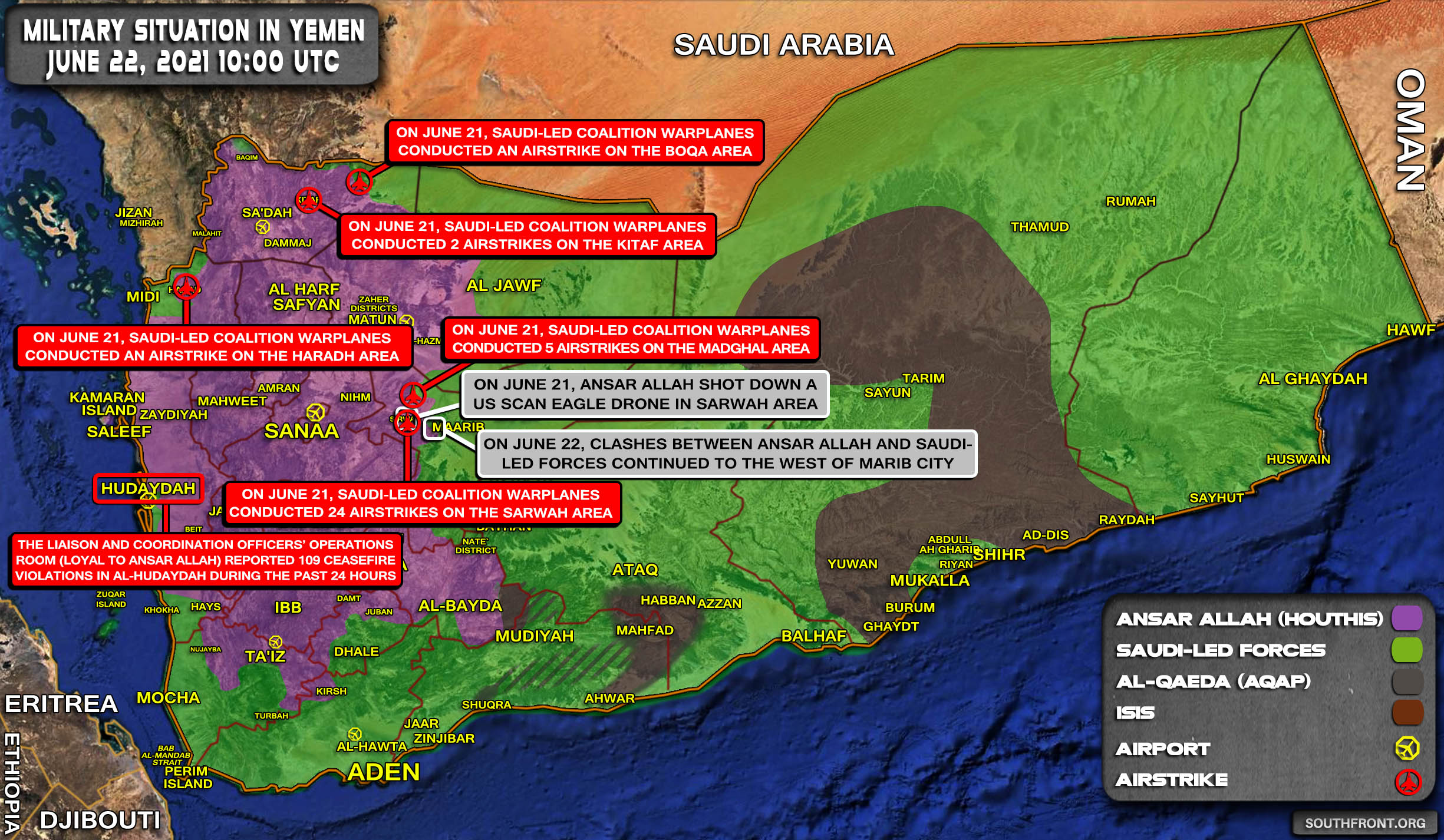 Military Situation In Yemen On June 22, 2021 (Map Update)