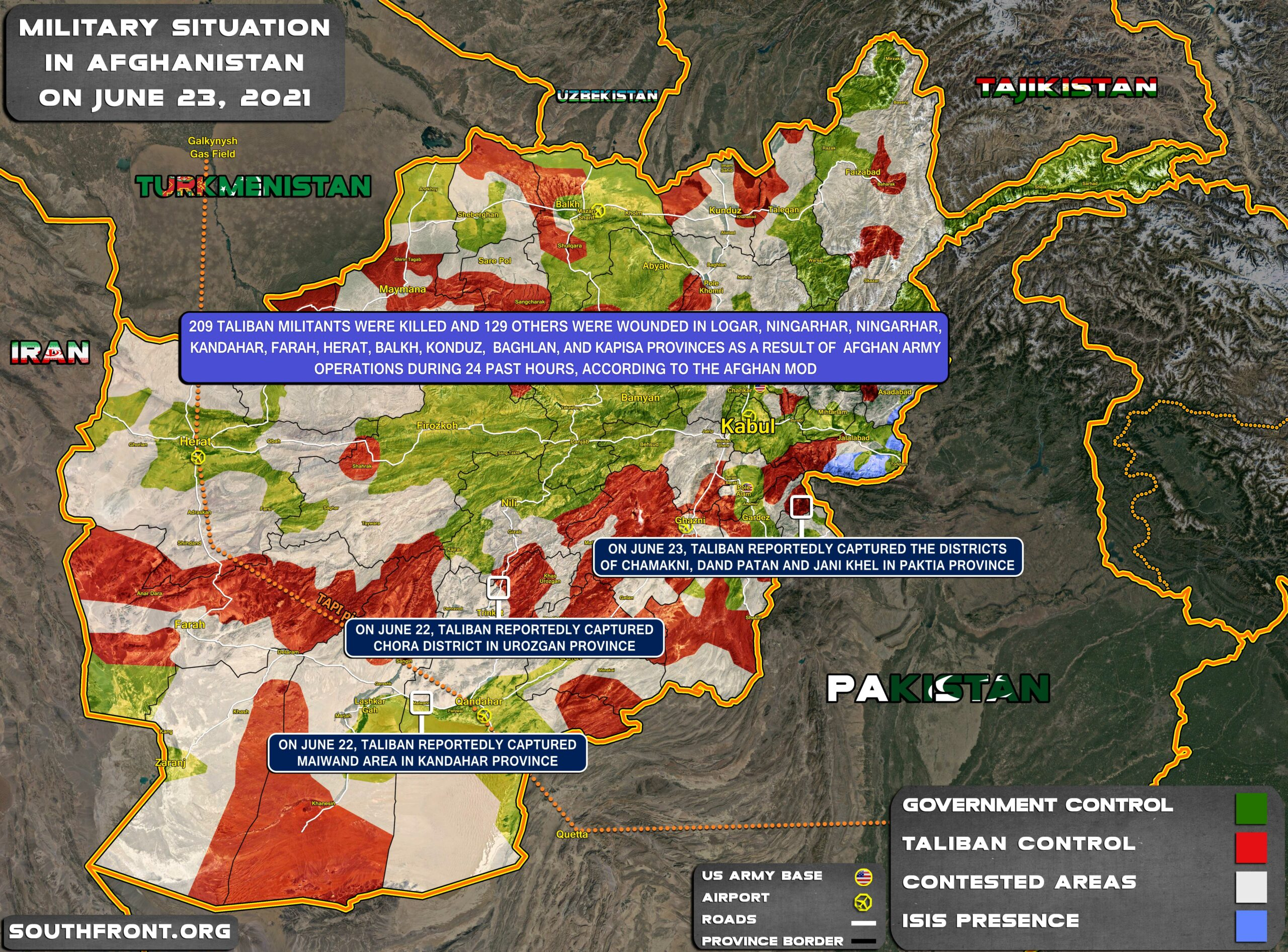 Military Situation In Afghanistan On June 23, 2021 (Map Update)