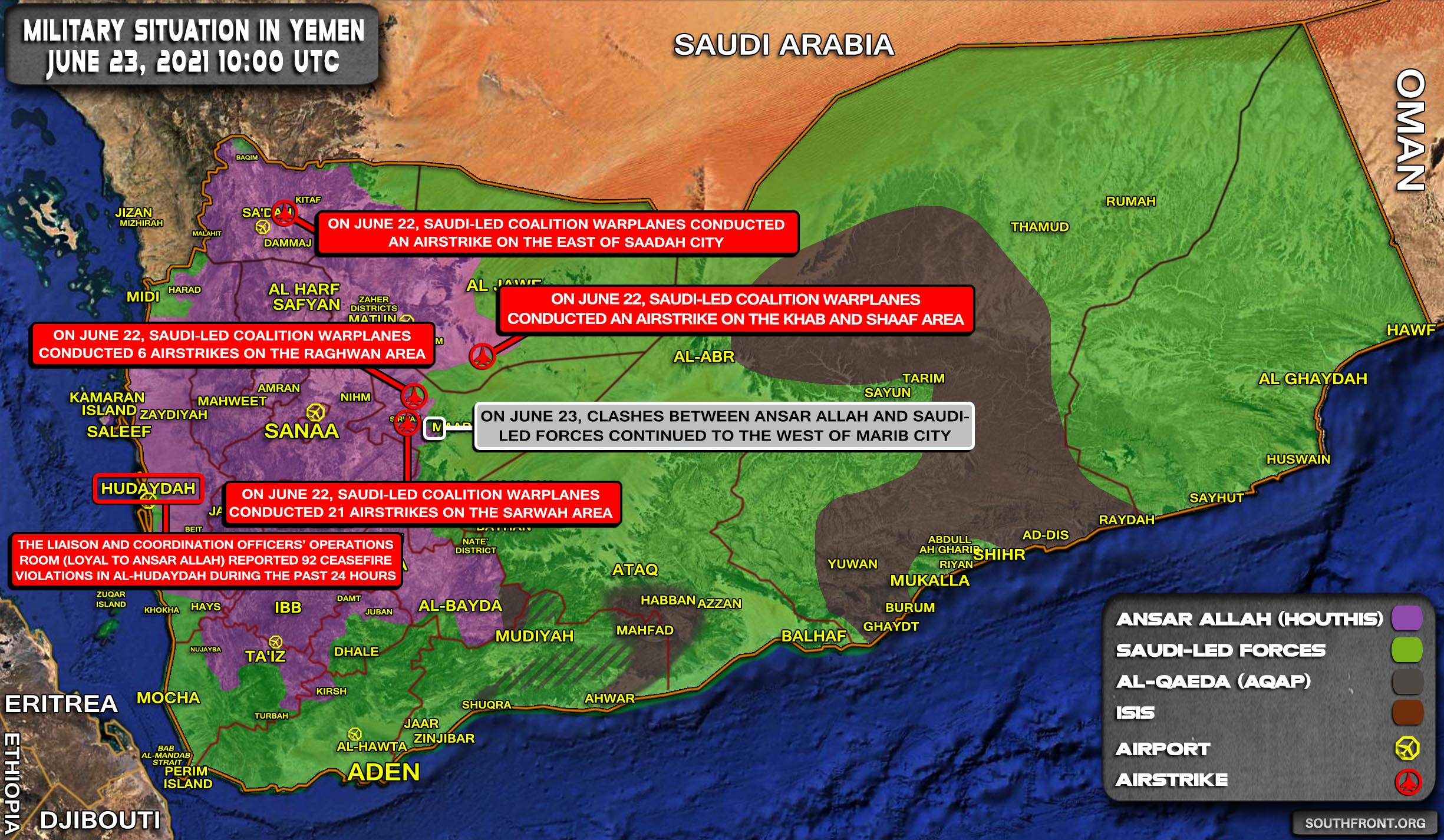 Military Situation In Yemen On June 23, 2021 (Map Update)