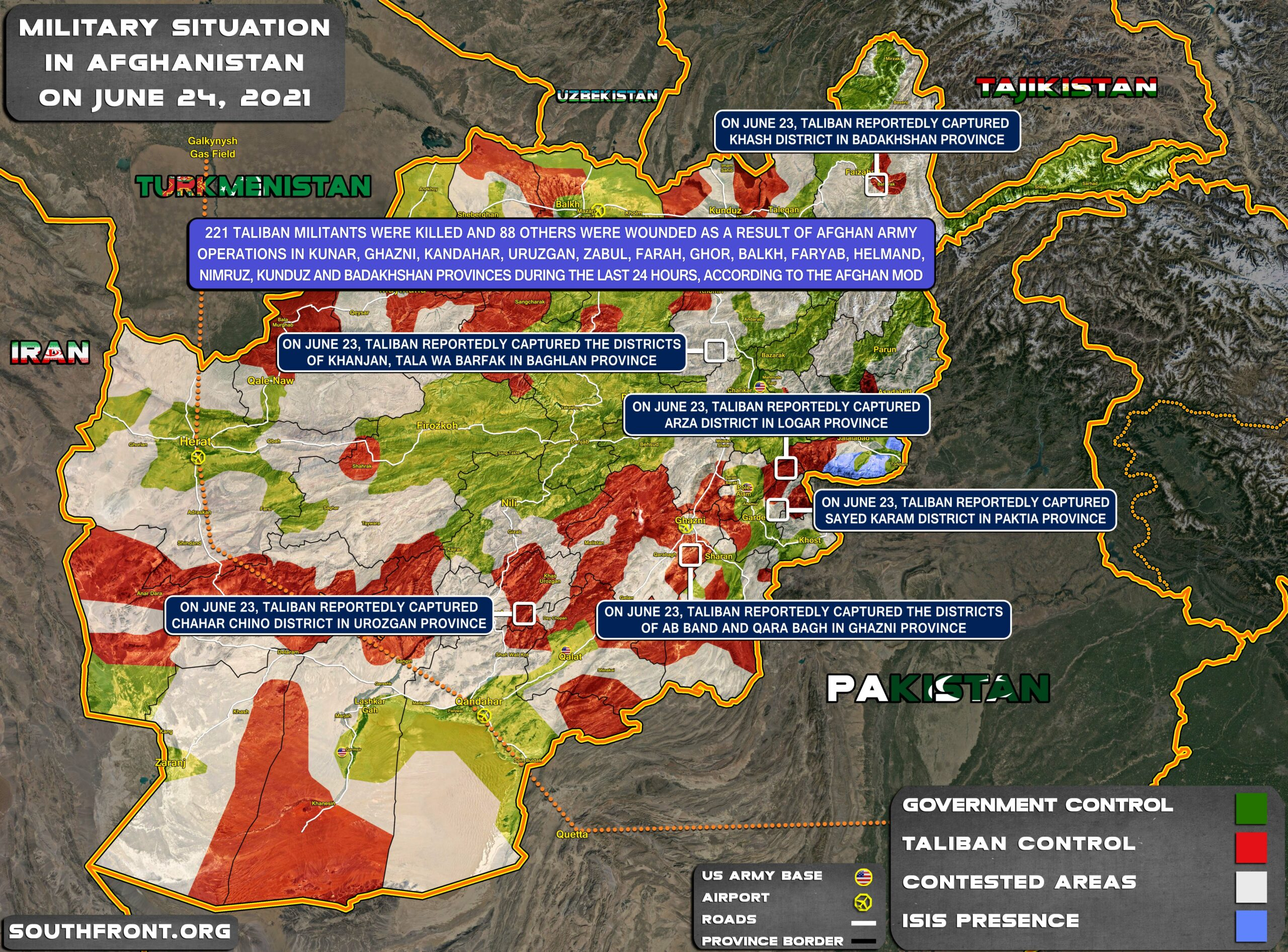 Military Situation In Afghanistan On June 24, 2021 (Map Update)