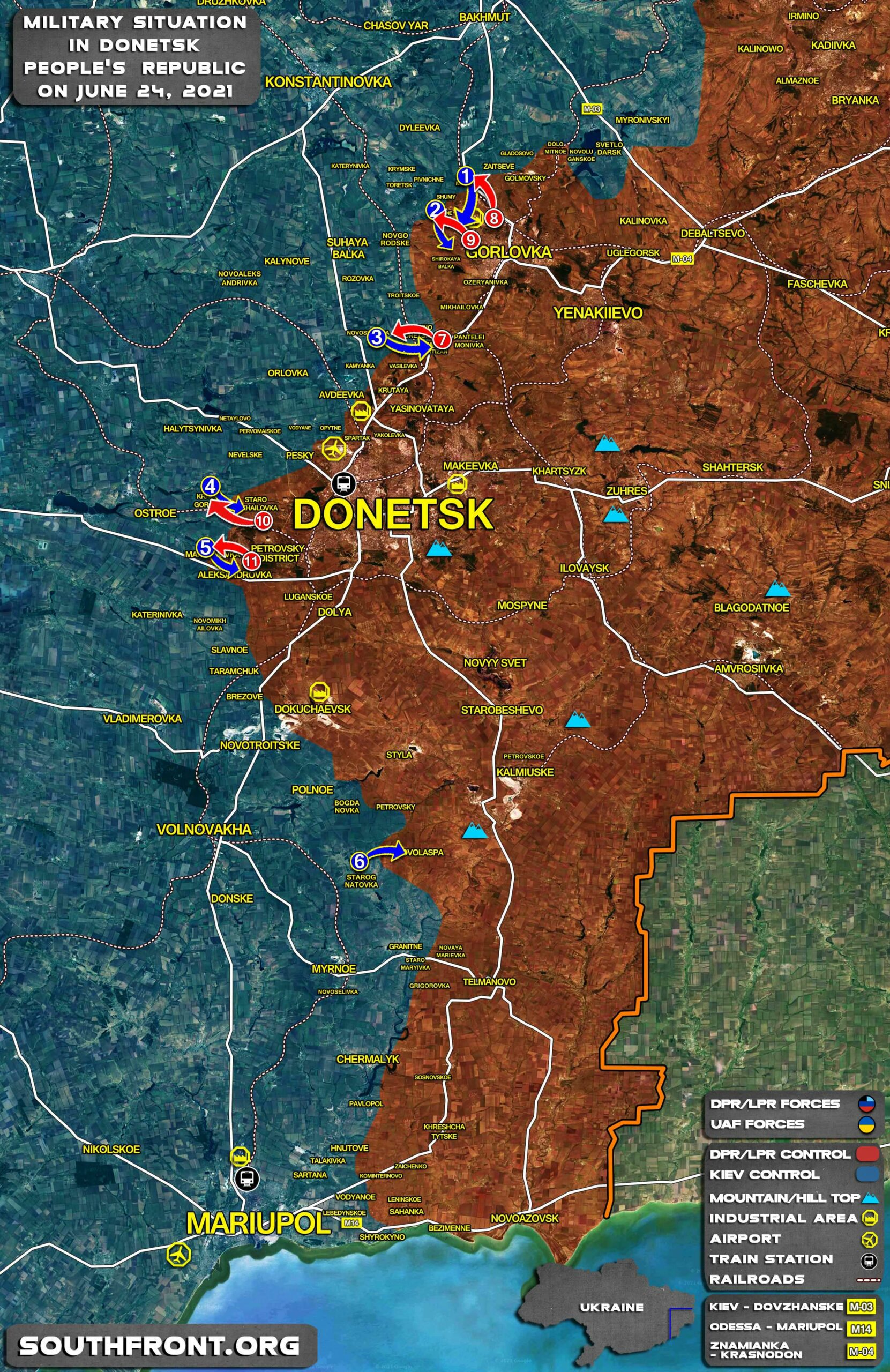 Military Situation In Donetsk People's Republic On June 24, 2021 (Map Update)