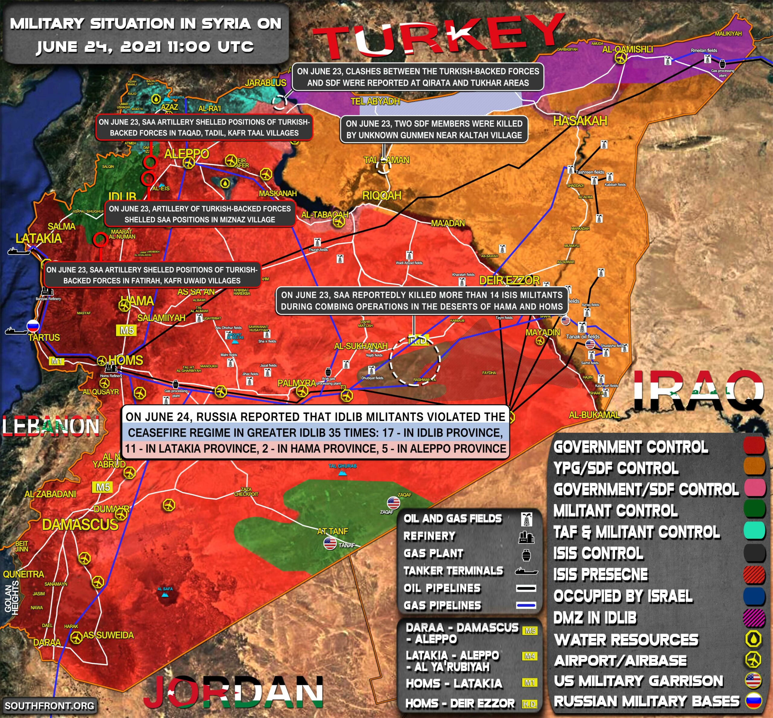 Military Situation In Syria On June 24, 2021 (Map Update)