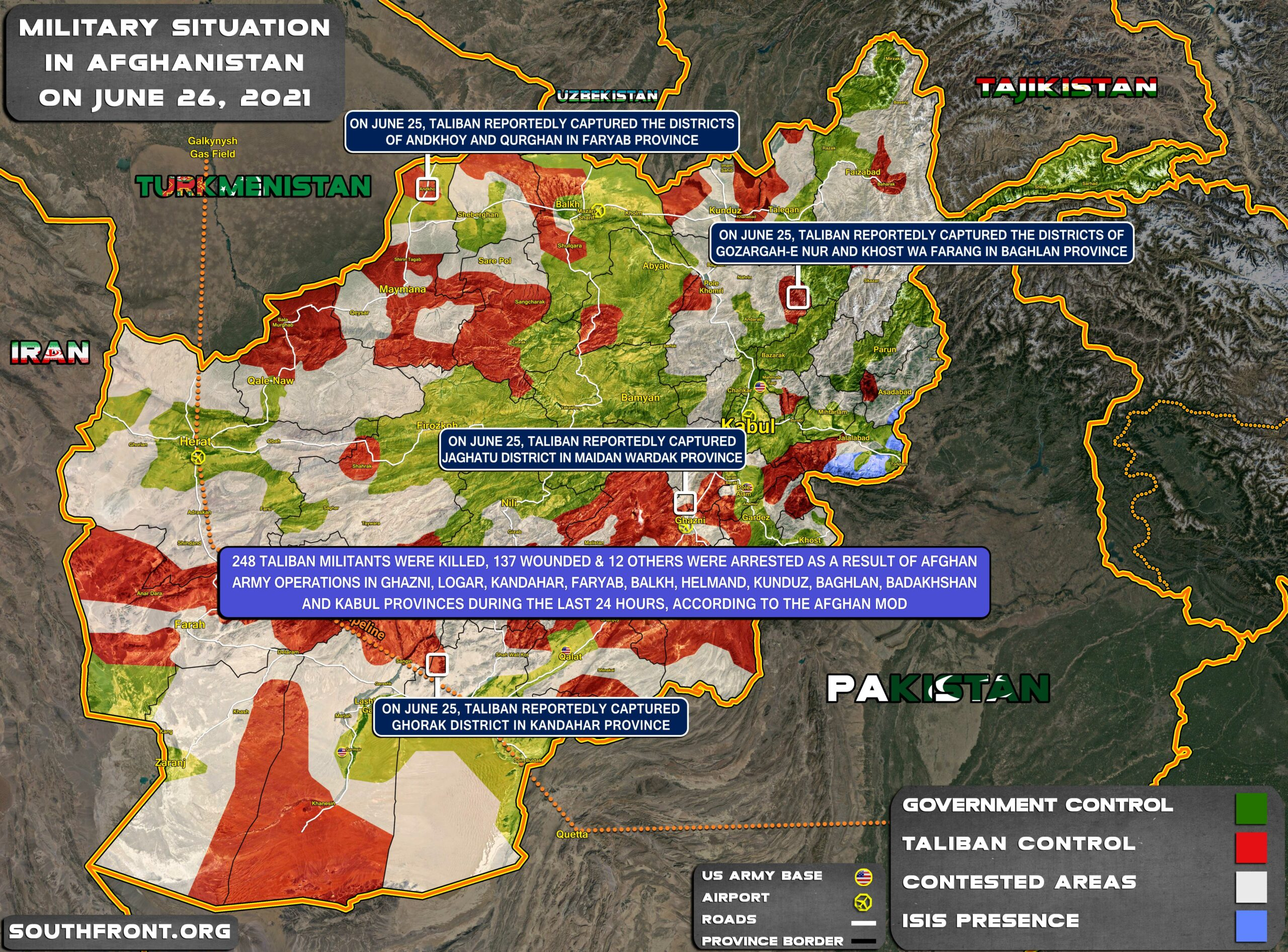 Military Situation In Afghanistan On June 26, 2021 (Map Update)