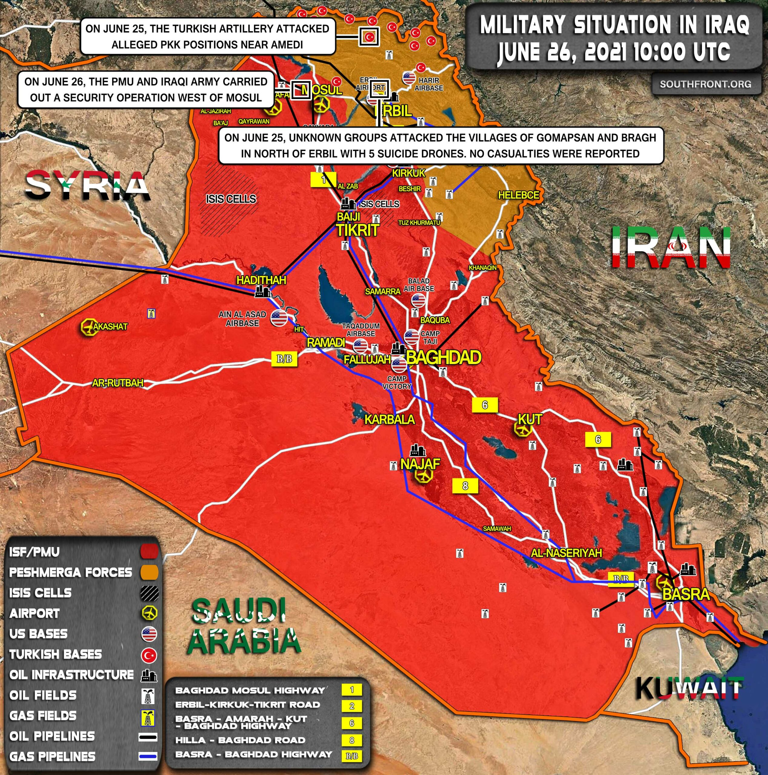 Military Situation In Iraq On June 26, 2021 (Map Update)