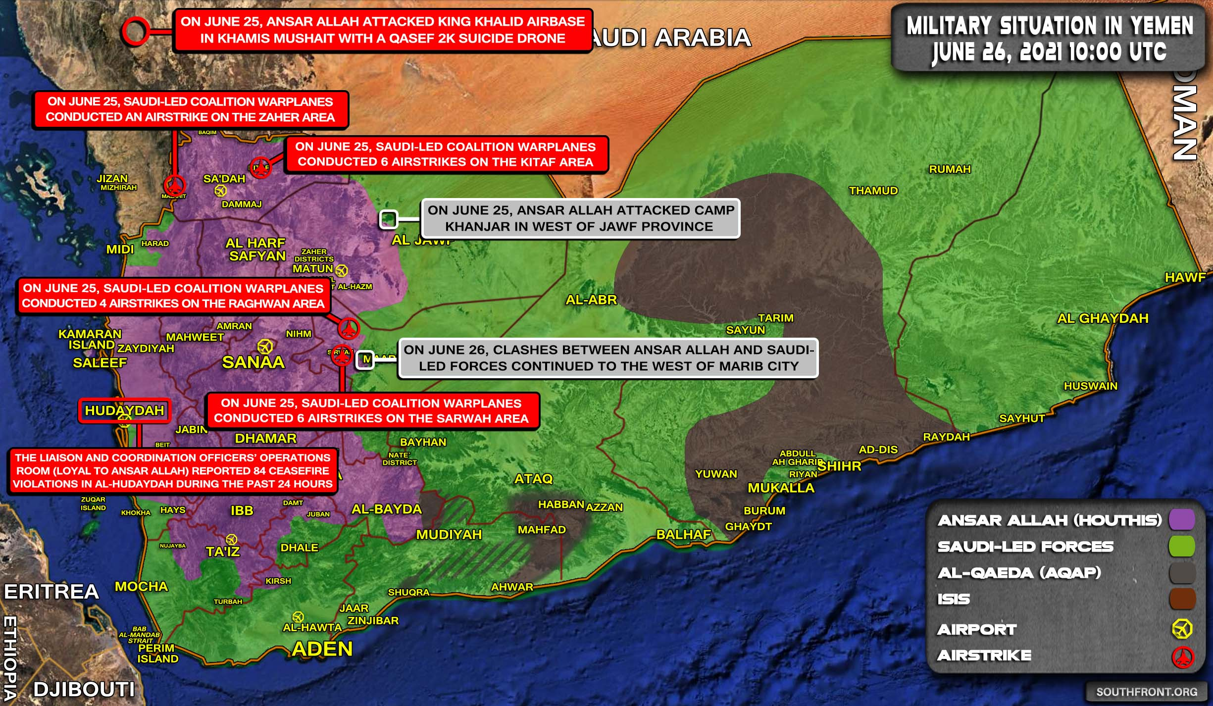 Military Situation In Yemen On June 26, 2021 (Map Update)
