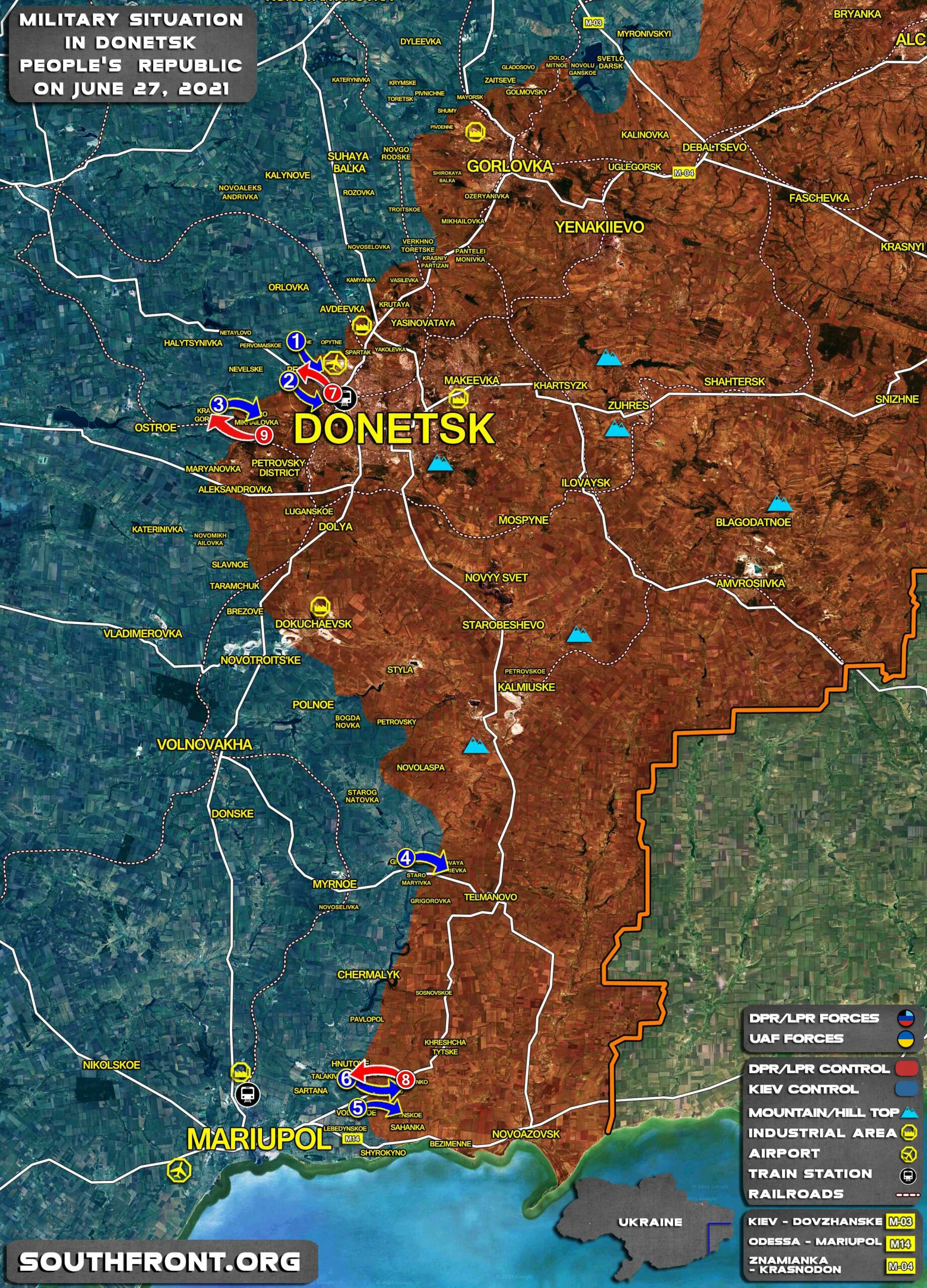 Military Situation In Donetsk People's Republic On June 27, 2021 (Map Update)