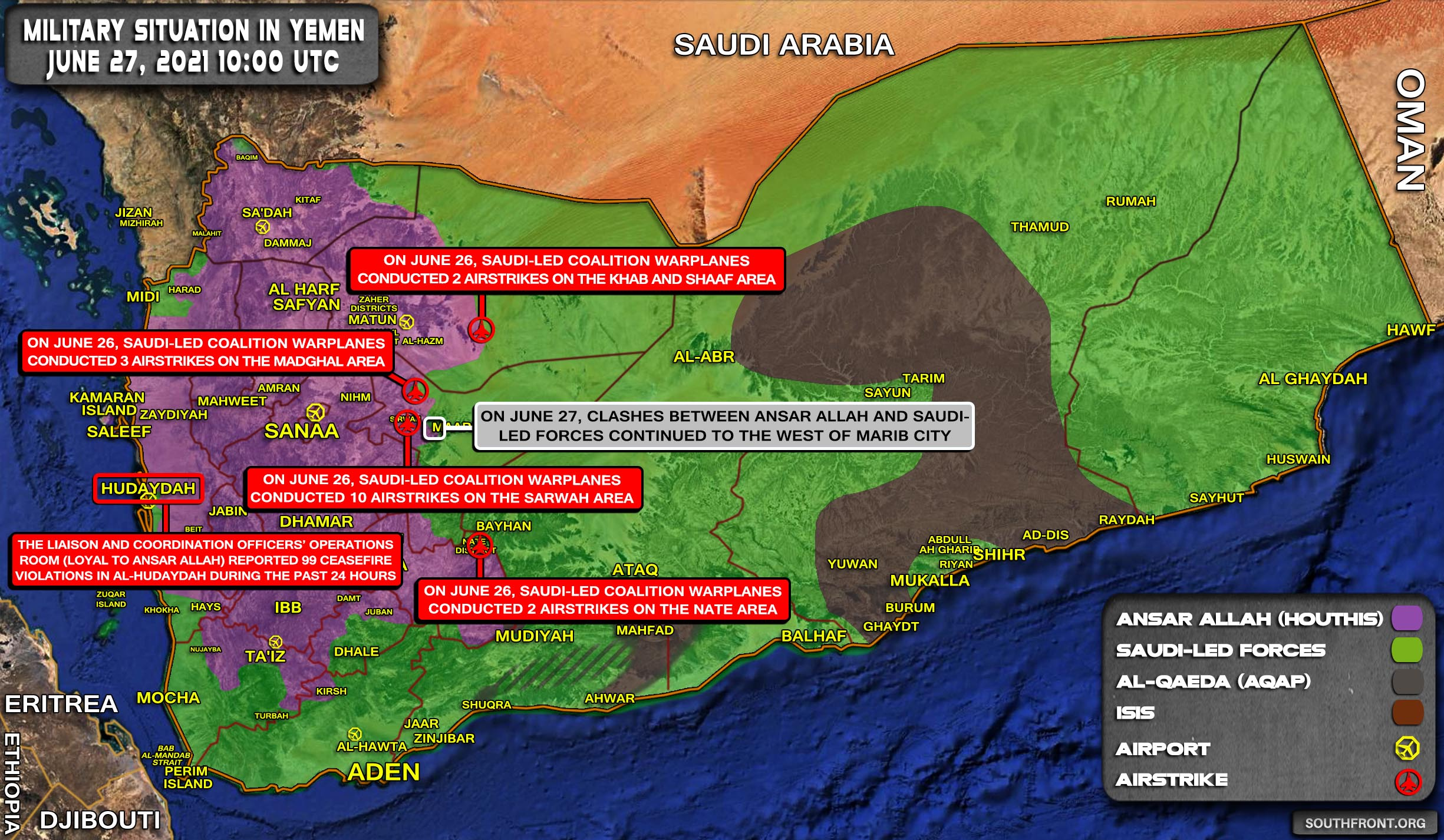 Military Situation In Yemen On June 27, 2021 (Map Update)