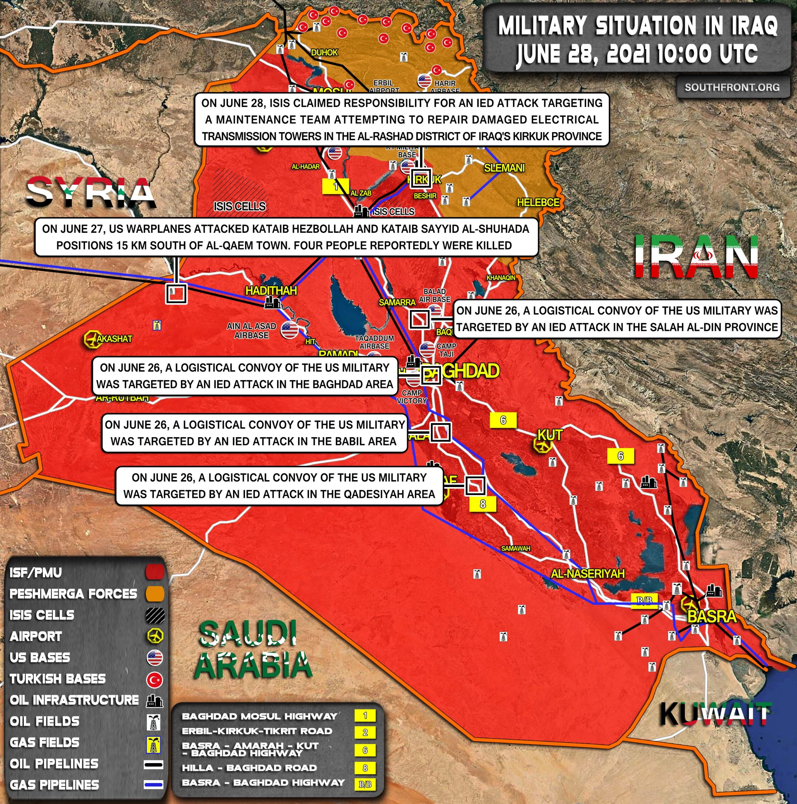 Military Situation In Iraq On June 28, 2021 (Map Update)