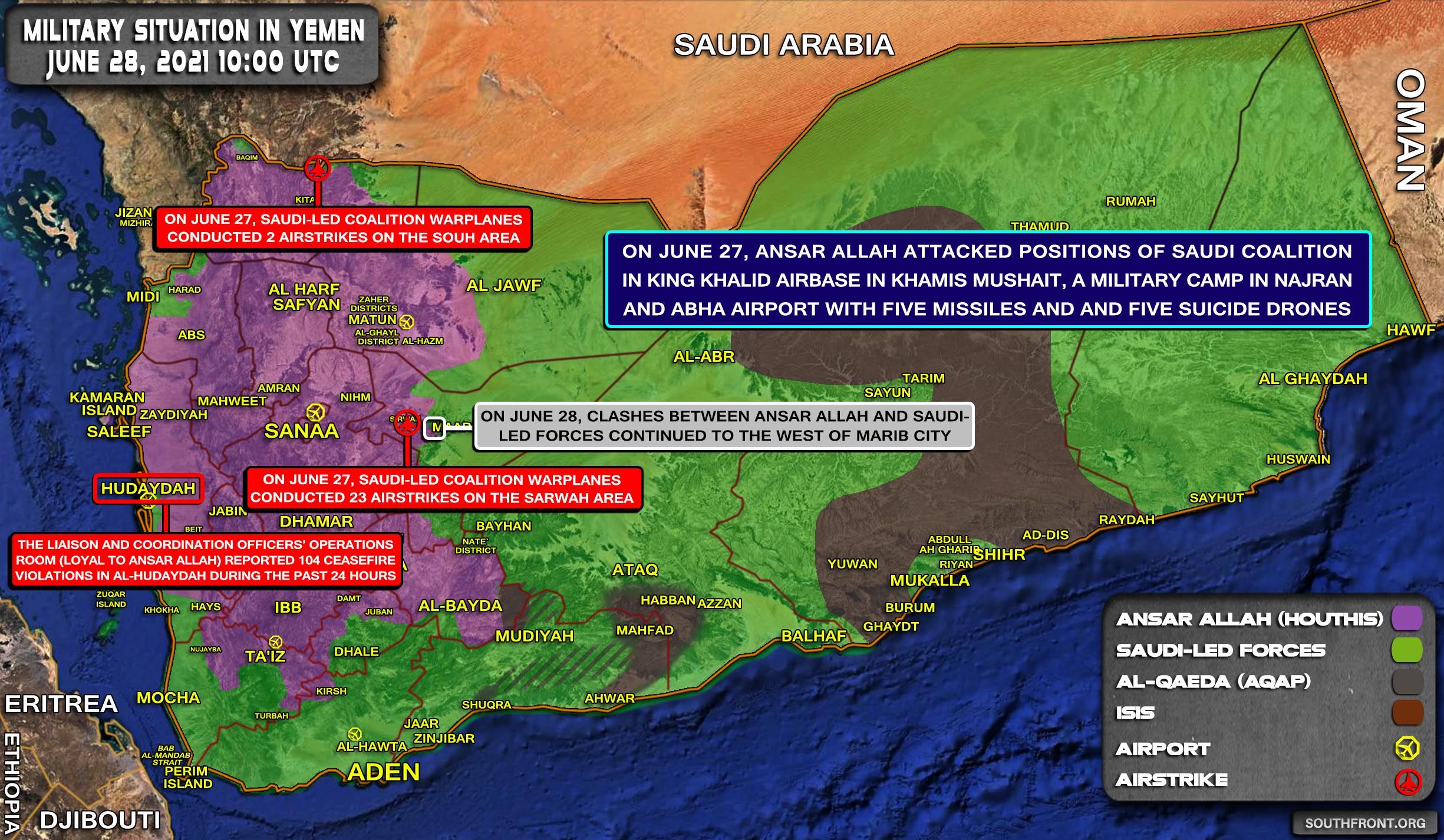 Military Situation In Yemen On June 28, 2021 (Map Update)