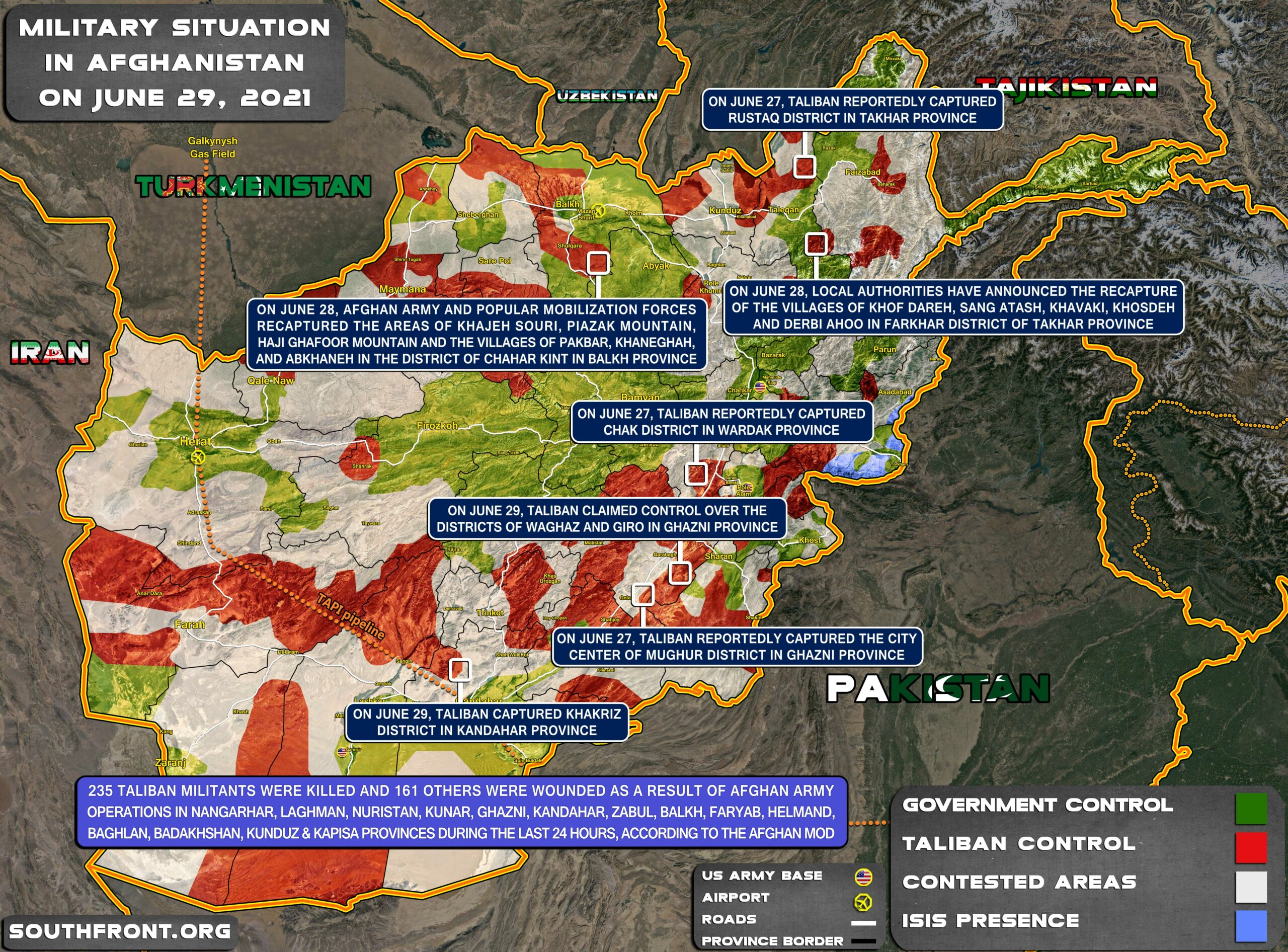 Military Situation In Afghanistan On June 29, 2021 (Map Update)