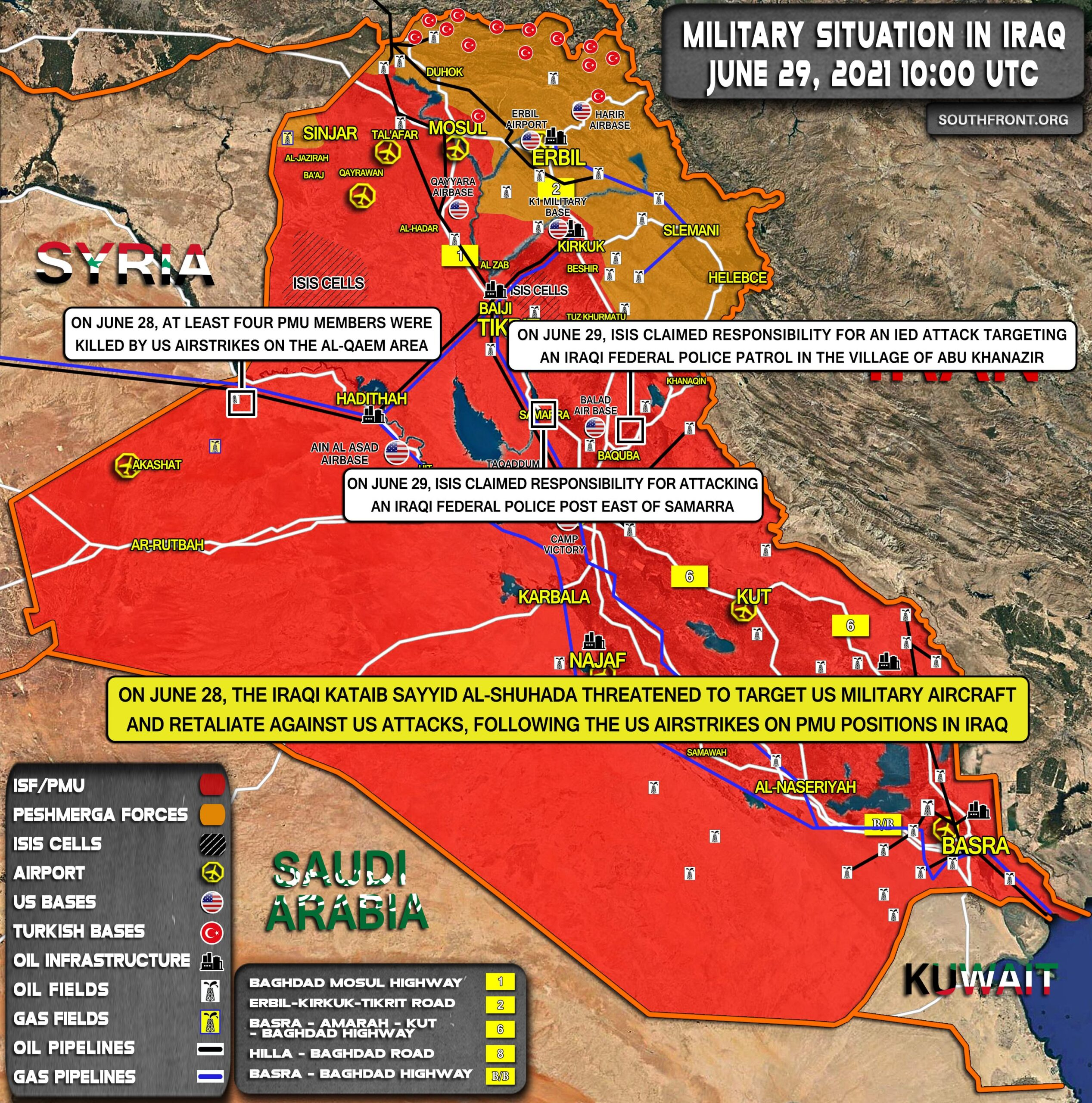 Military Situation In Iraq On June 29, 2021 (Map Update)