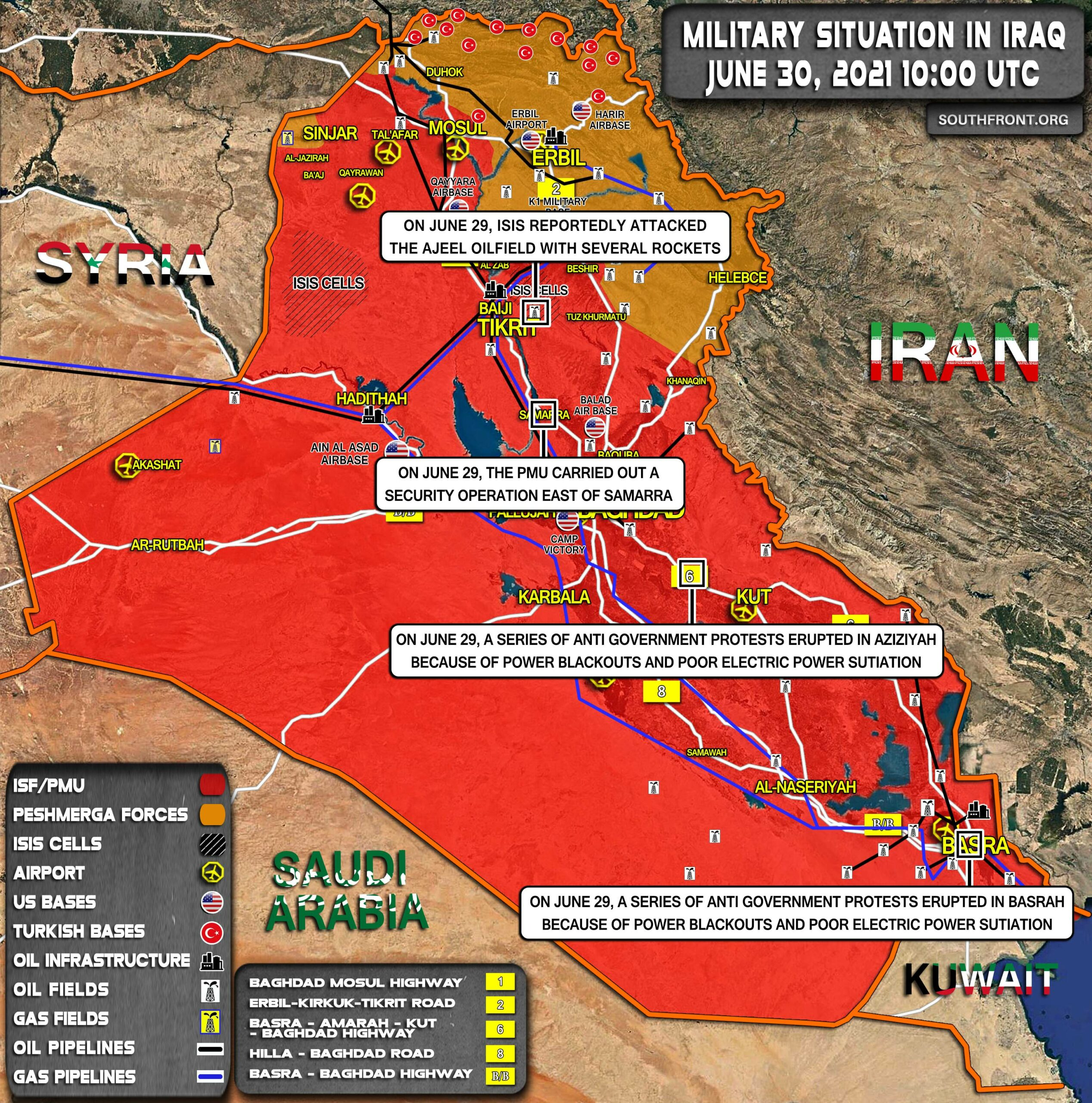 Military Situation In Iraq On June 30, 2021 (Map Update)