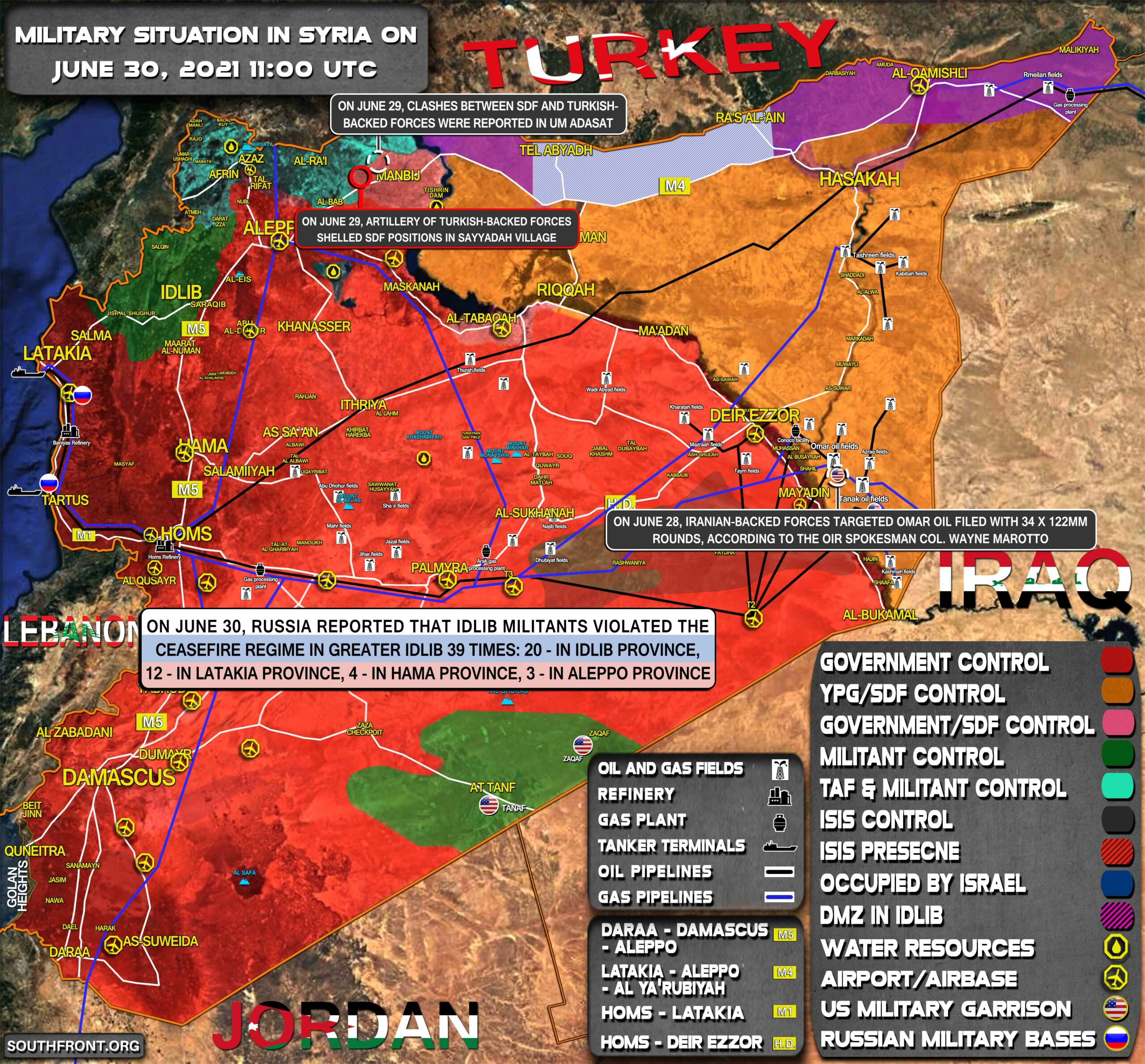 Military Situation In Syria On June 30, 2021 (Map Update)