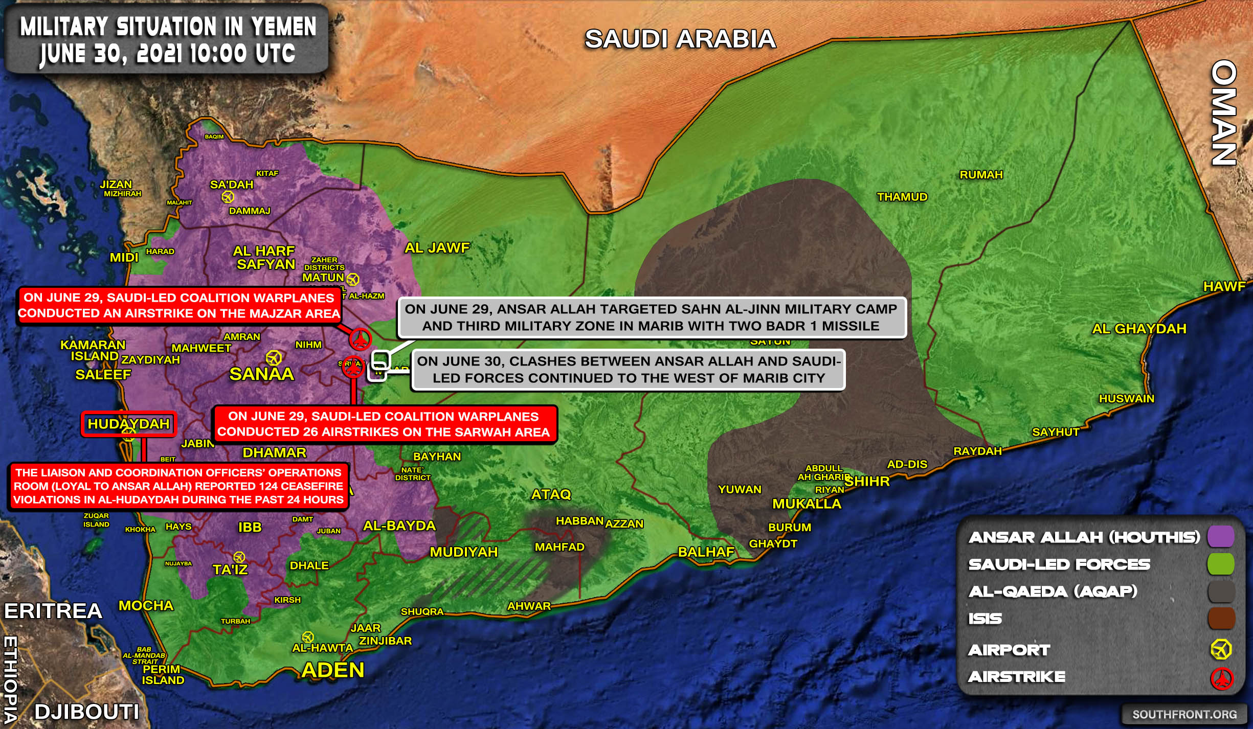 Military Situation In Yemen On June 30, 2021 (Map Update)