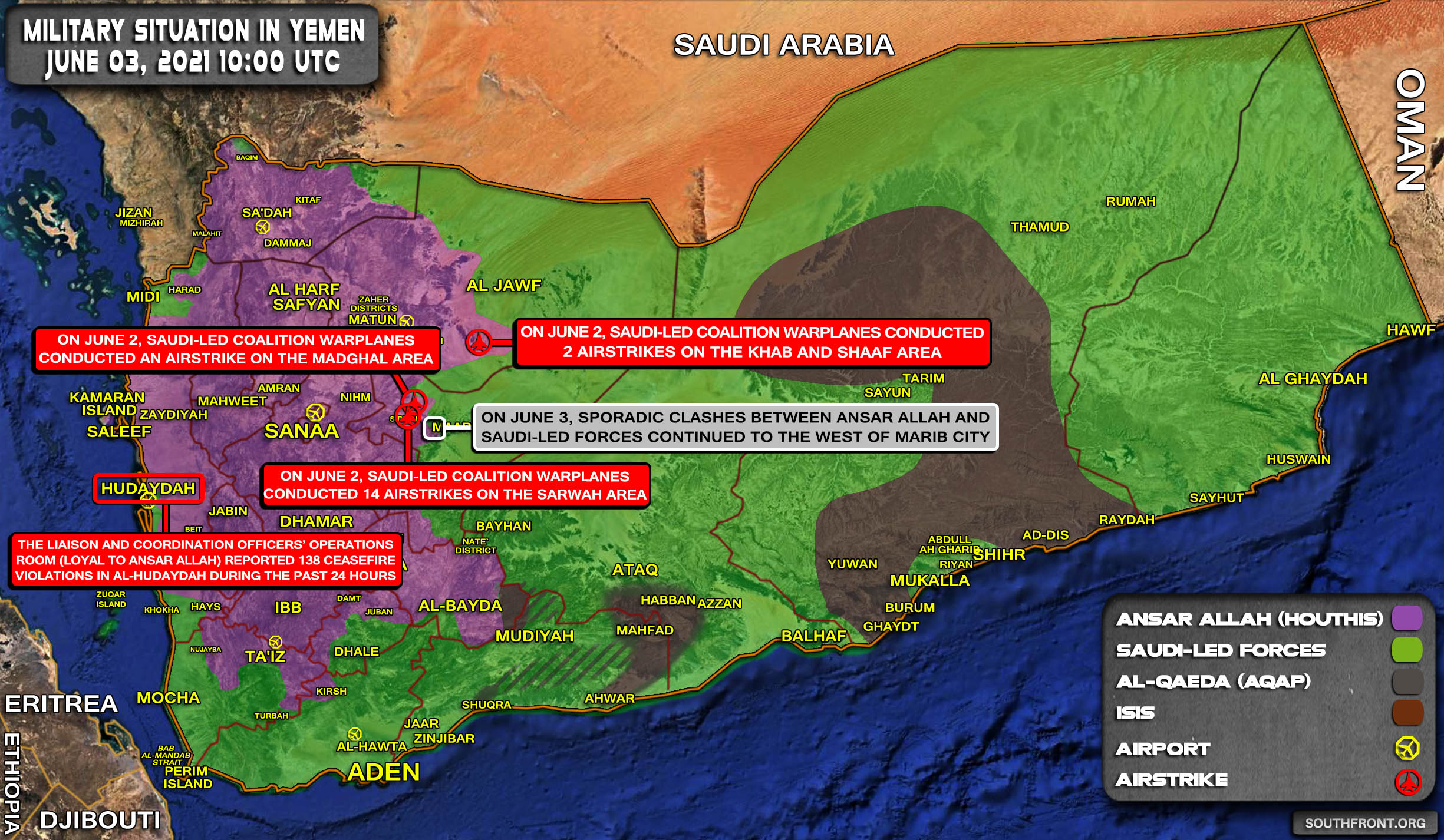 Military Situation In Yemen On June 3, 2021 (Map Update)