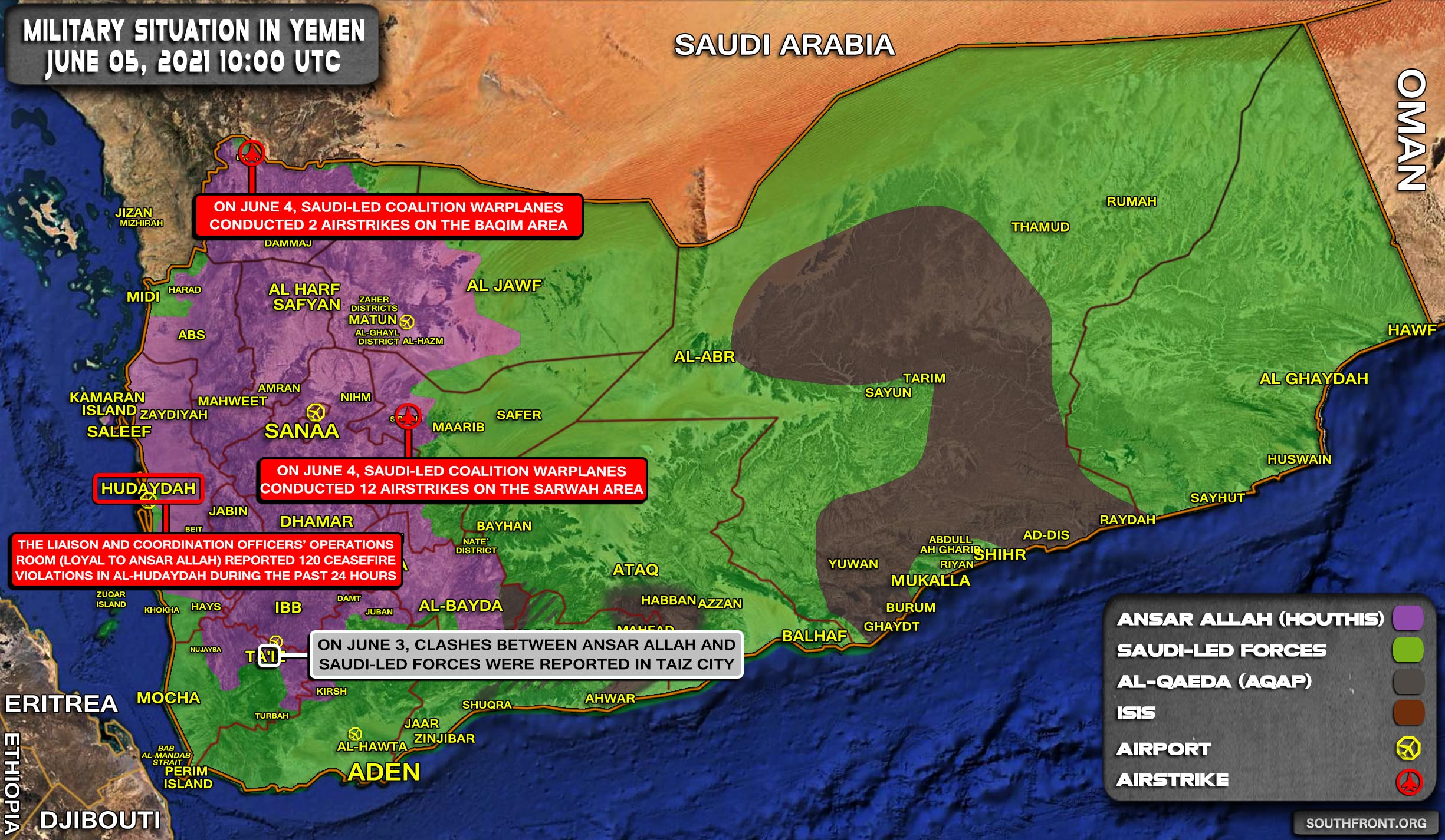 Military Situation In Yemen On June 5, 2021 (Map Update)