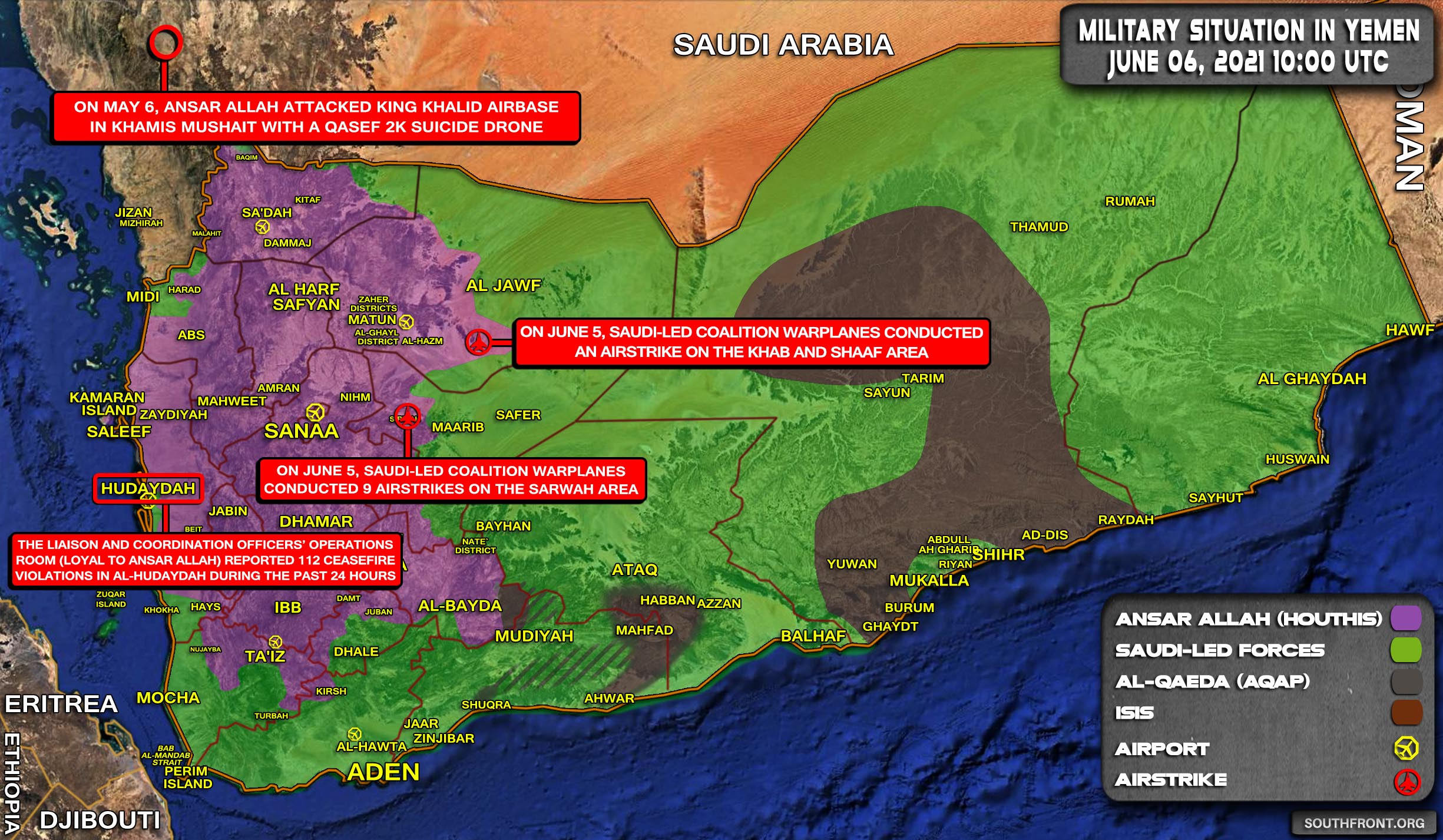 Military Situation In Yemen On June 6, 2021 (Map Update)