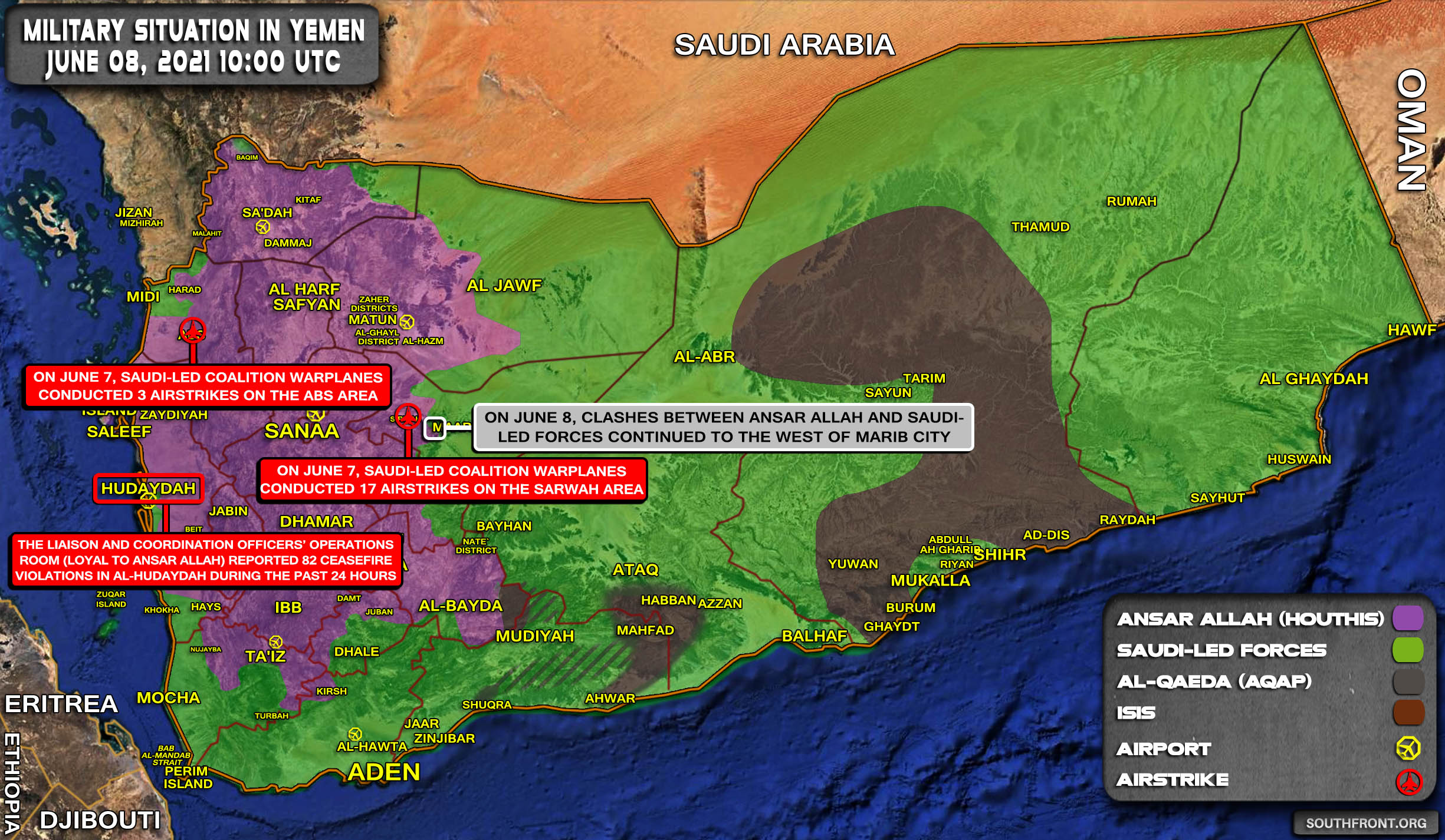 Military Situation In Yemen On June 8, 2021 (Map Update)