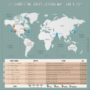 Locations Of US Carrier Strike Groups – June 15, 2021