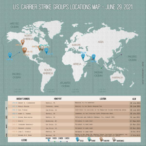 Locations Of US Carrier Strike Groups – June 29, 2021