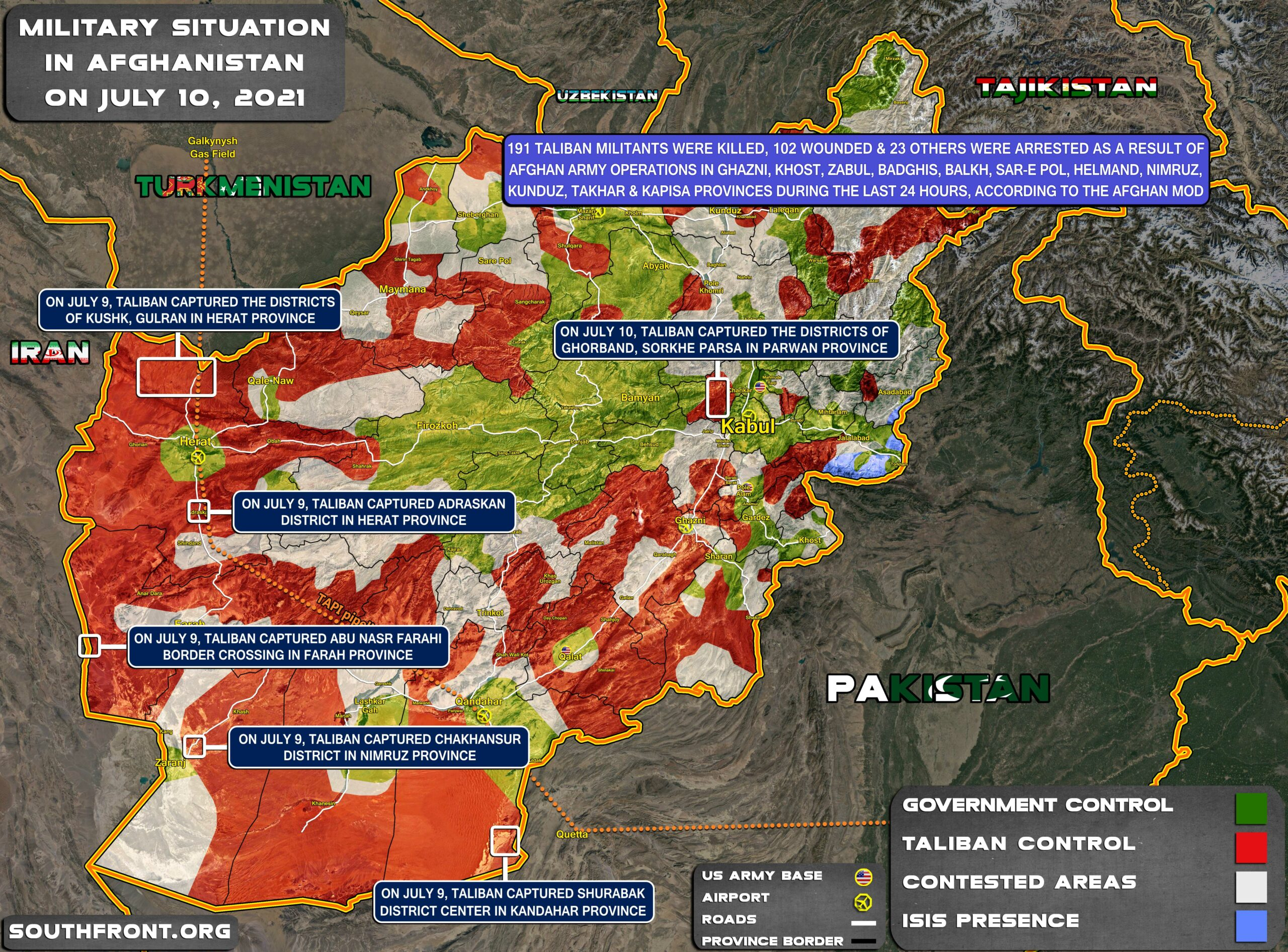 Military Situation In Afghanistan On July 10, 2021 (Map Update)