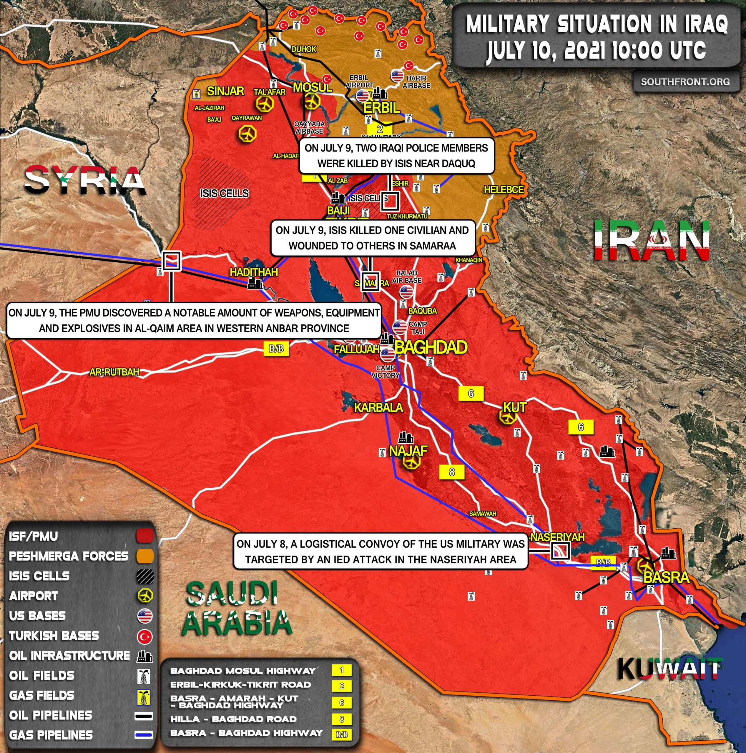 Military Situation In Iraq On July 10, 2021 (Map Update)