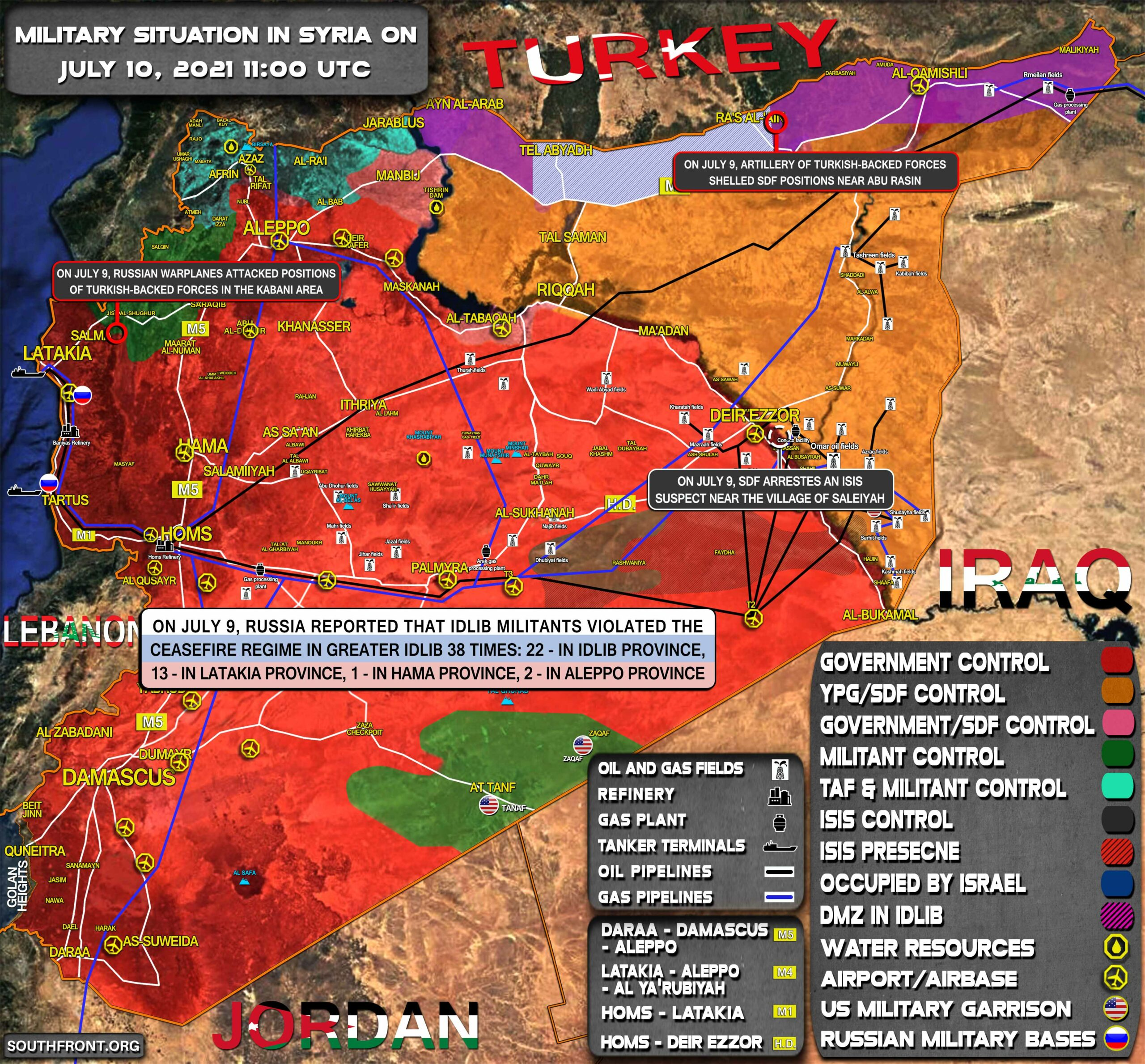 Military Situation In Syria On July 10, 2021 (Map Update)