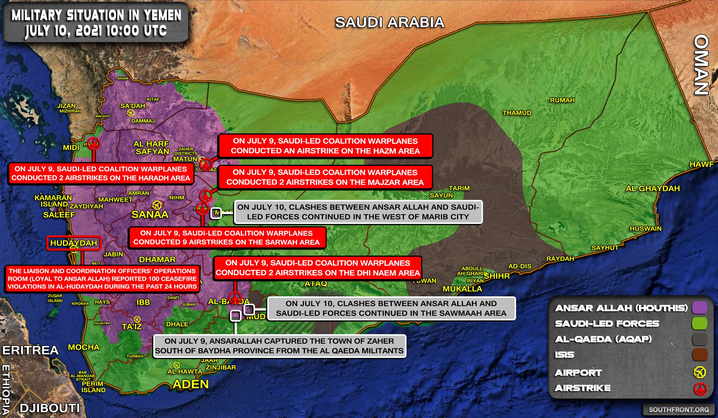 Military Situation In Yemen On July 10, 2021 (Map Update)