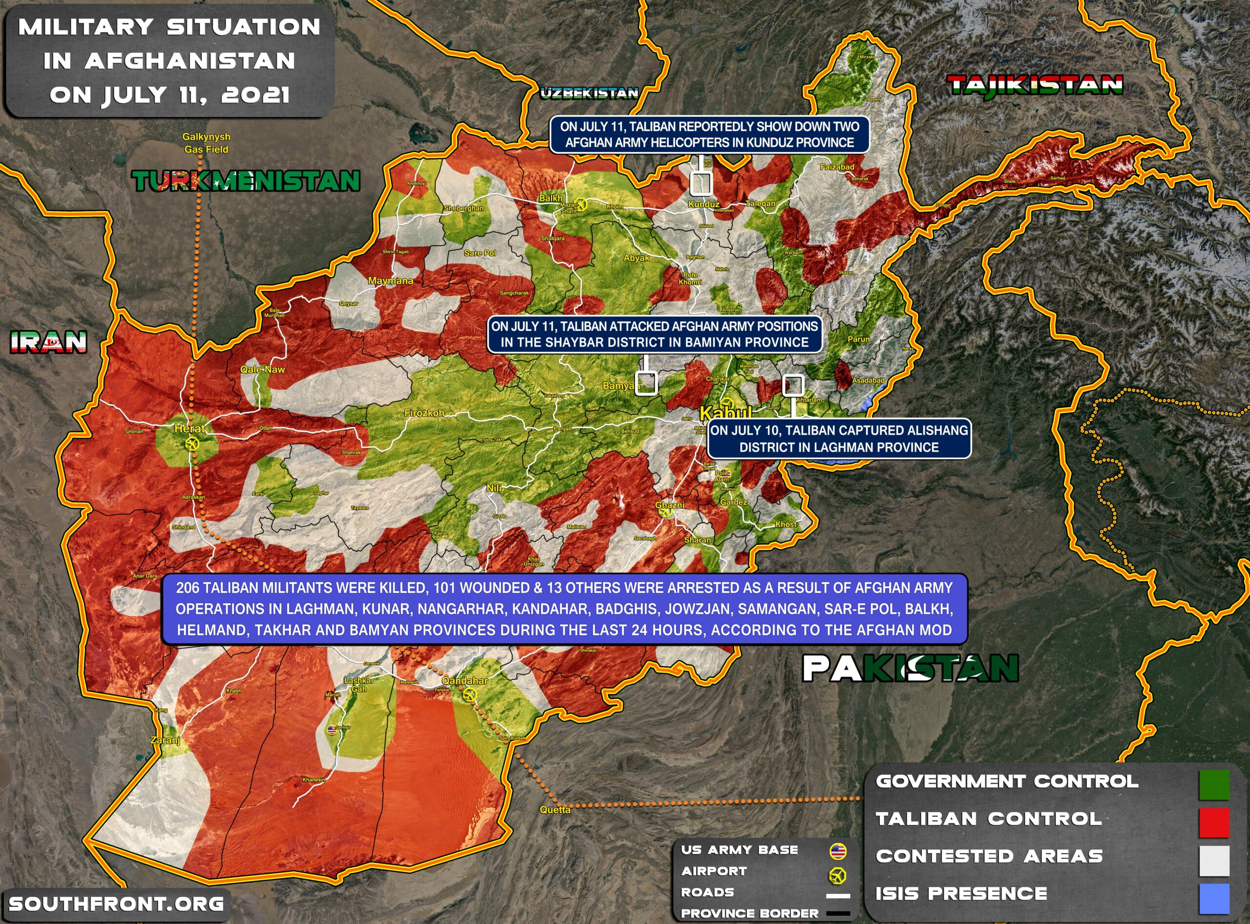Military Situation In Afghanistan On July 11, 2021 (Map Update)