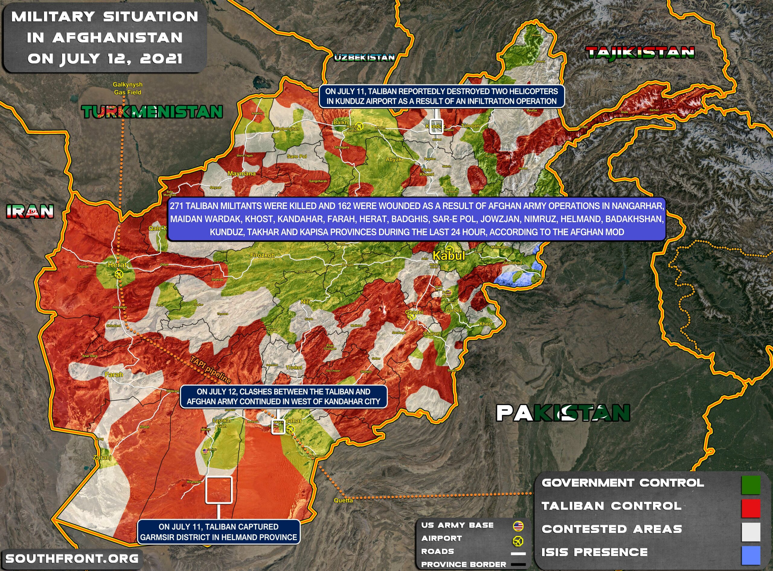 Military Situation In Afghanistan On July 12, 2021 (Map Update)
