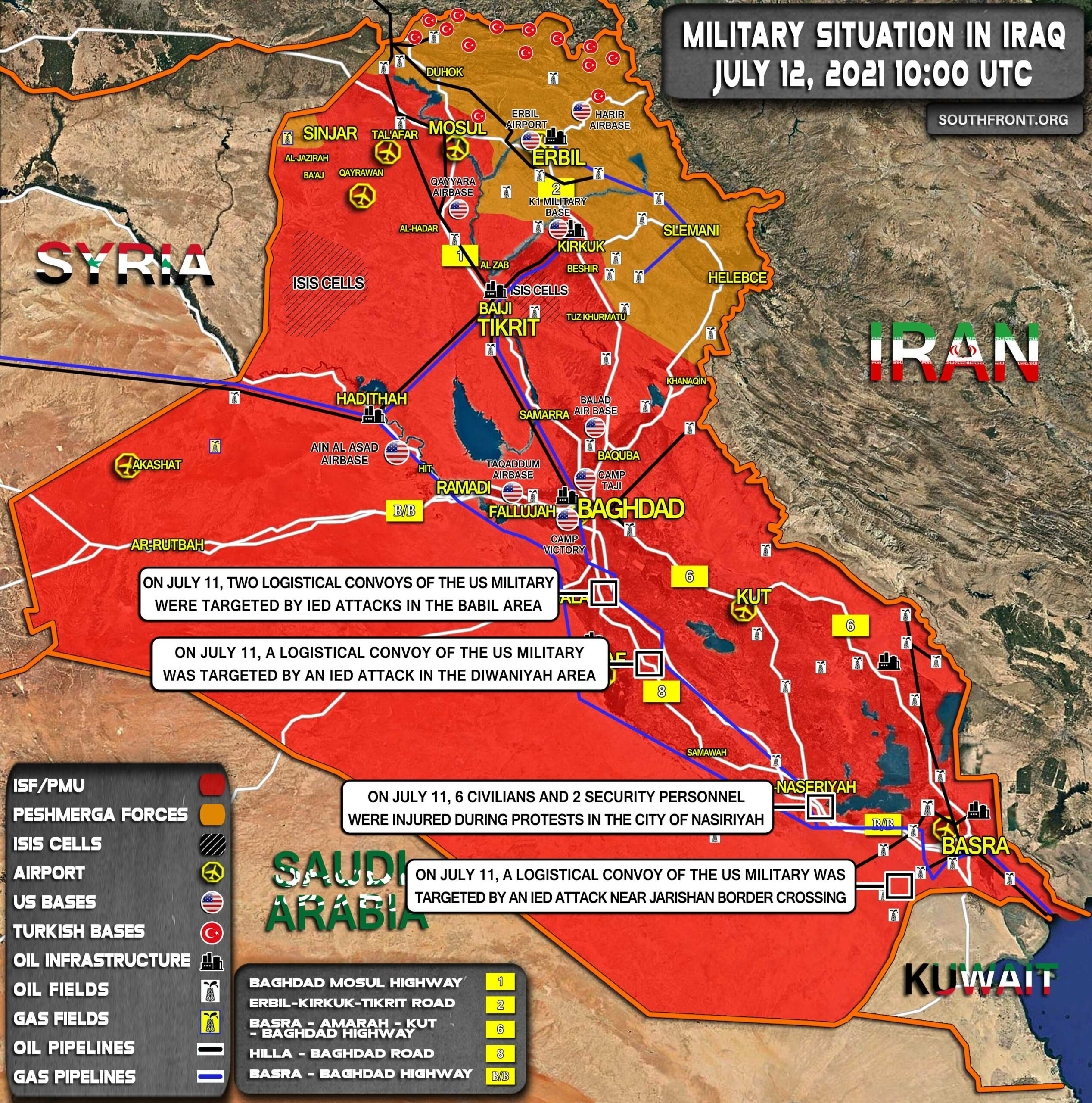 Military Situation In Iraq On July 12, 2021 (Map Update)