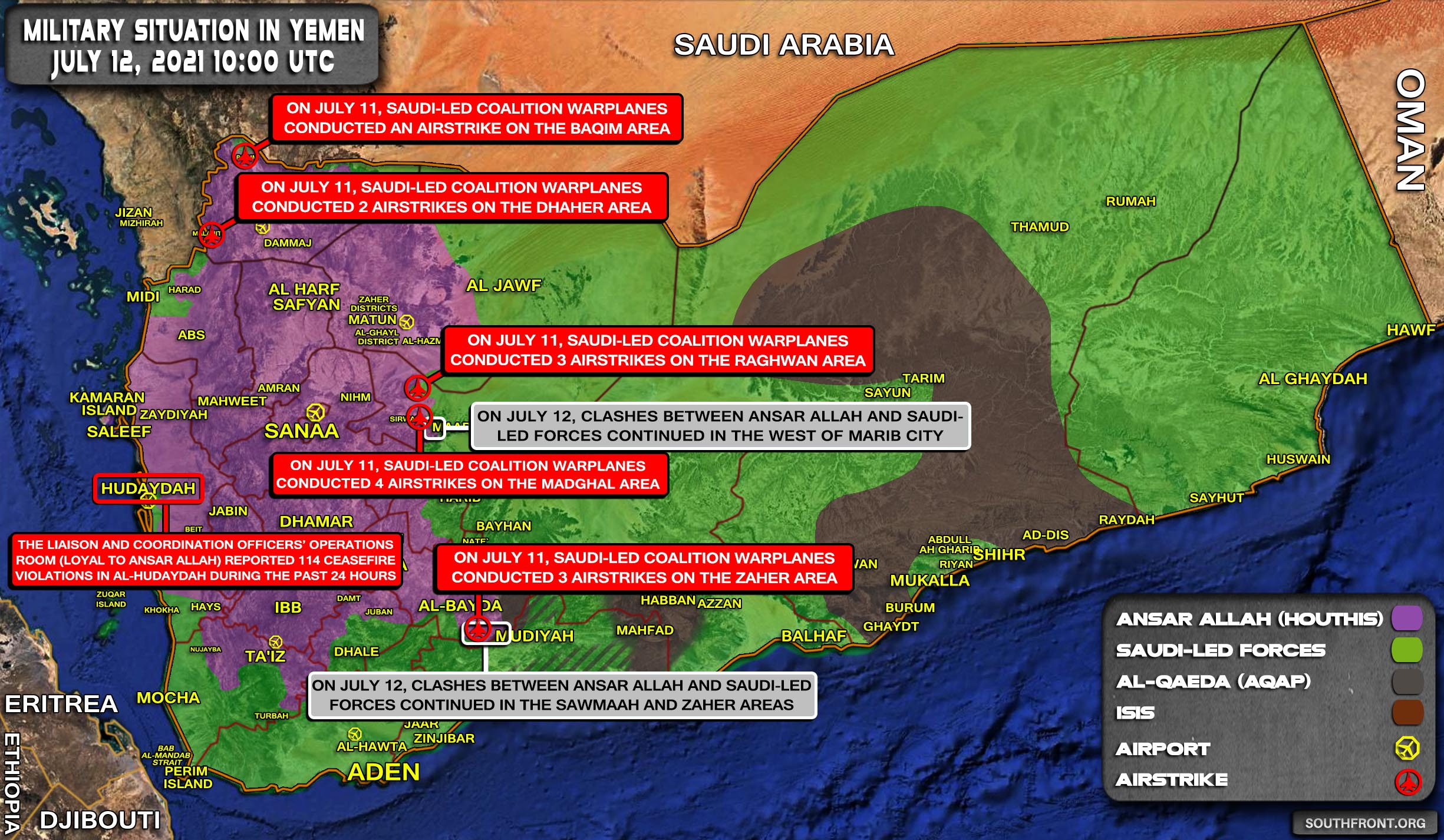 Military Situation In Yemen On July 12, 2021 (Map Update)