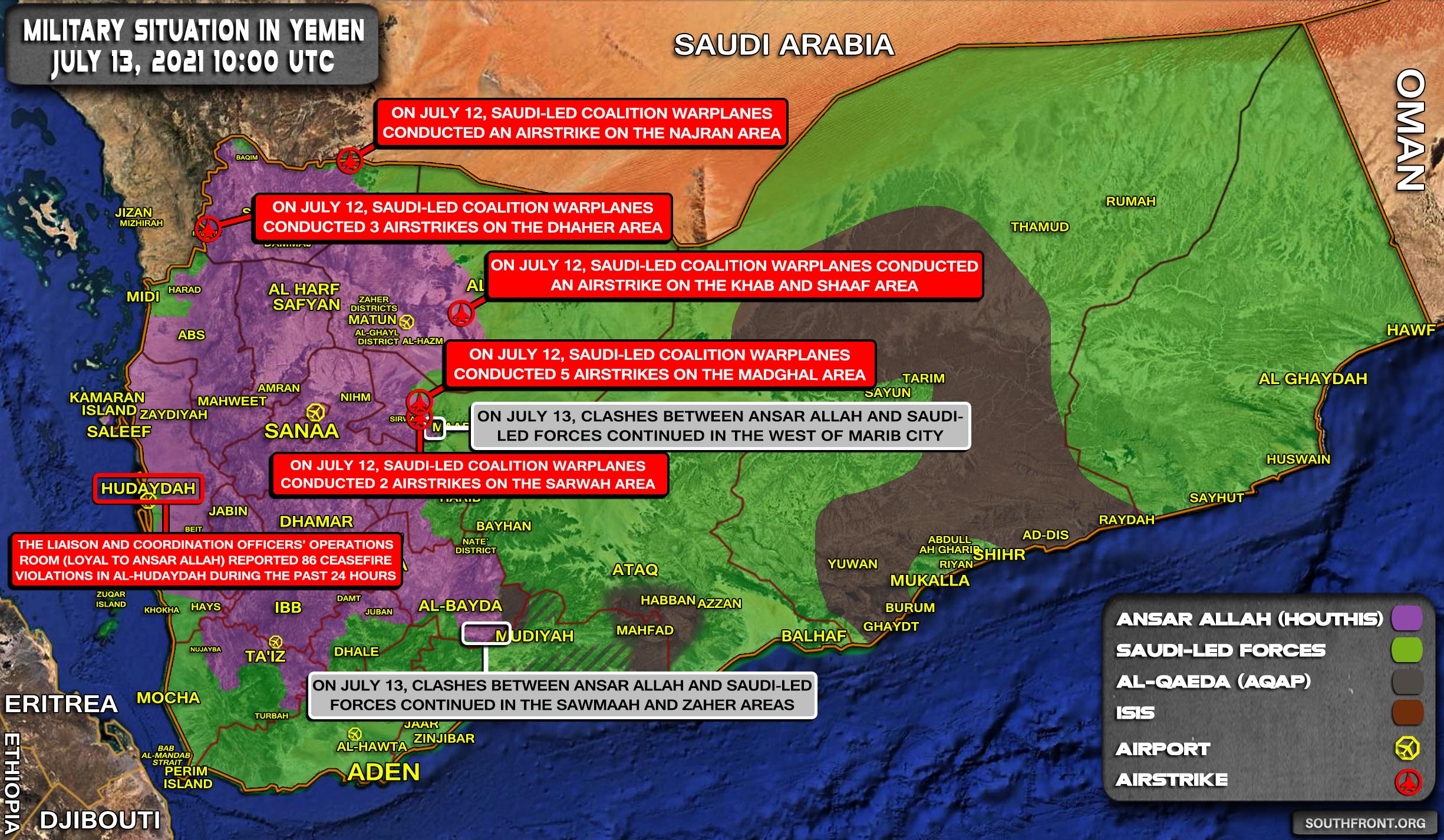 Military Situation In Yemen On July 13, 2021 (Map Update)