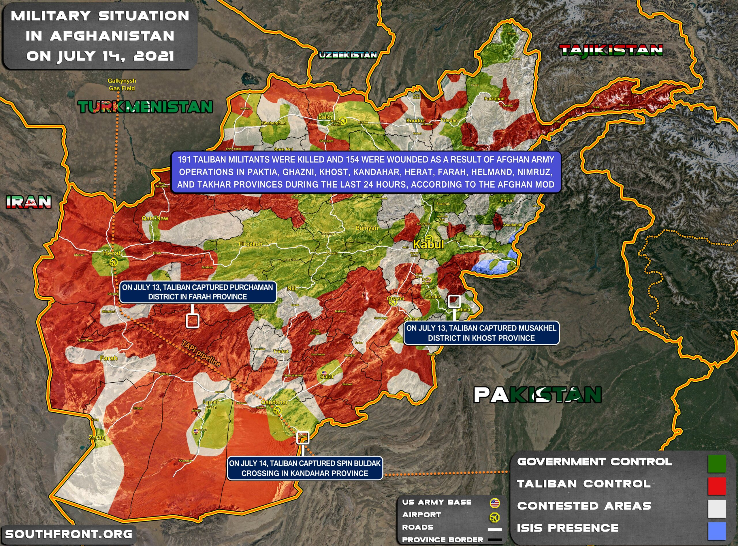 Military Situation In Afghanistan On July 14, 2021 (Map Update)