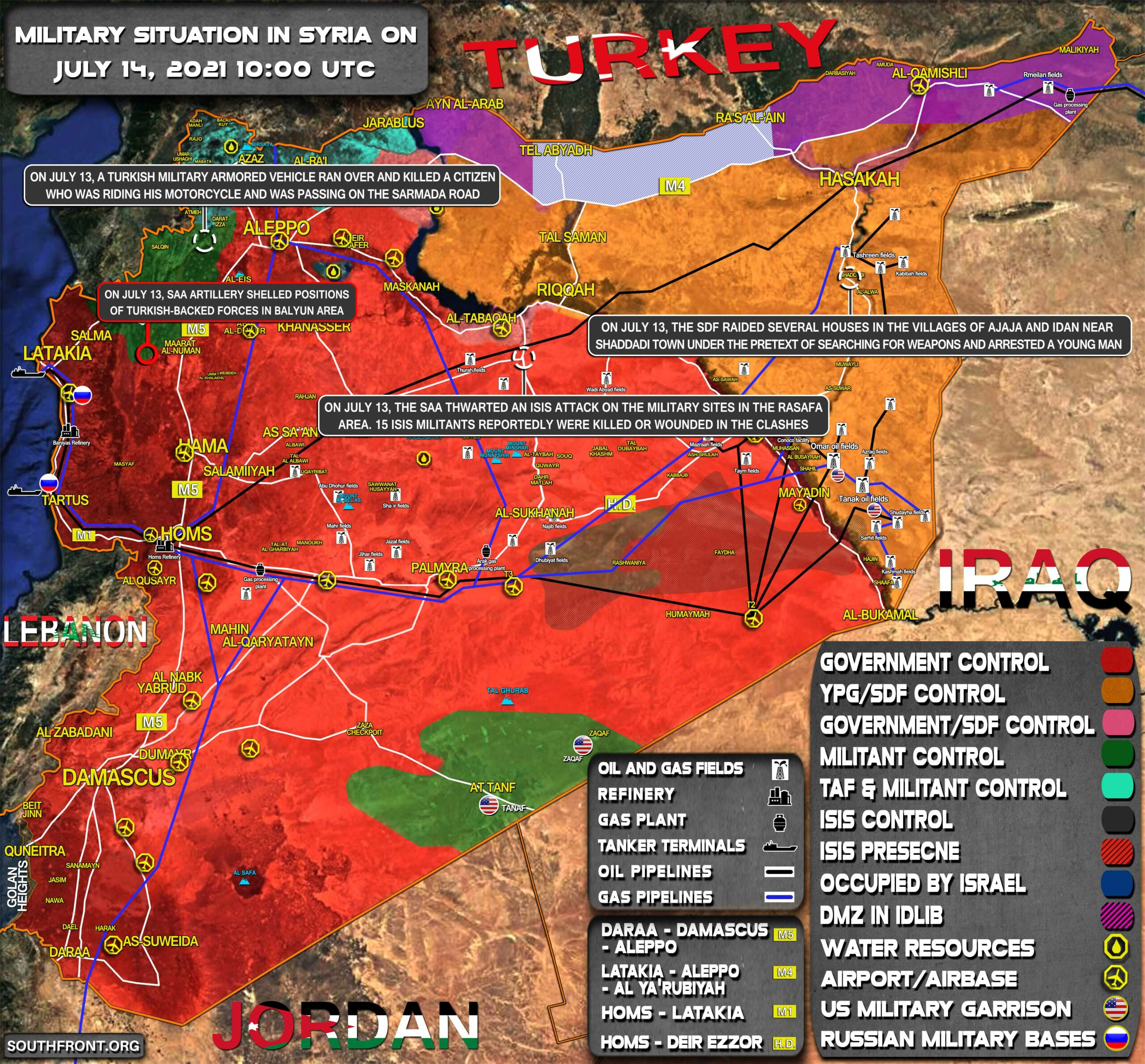 Military Situation In Syria On July 14, 2021 (Map Update)