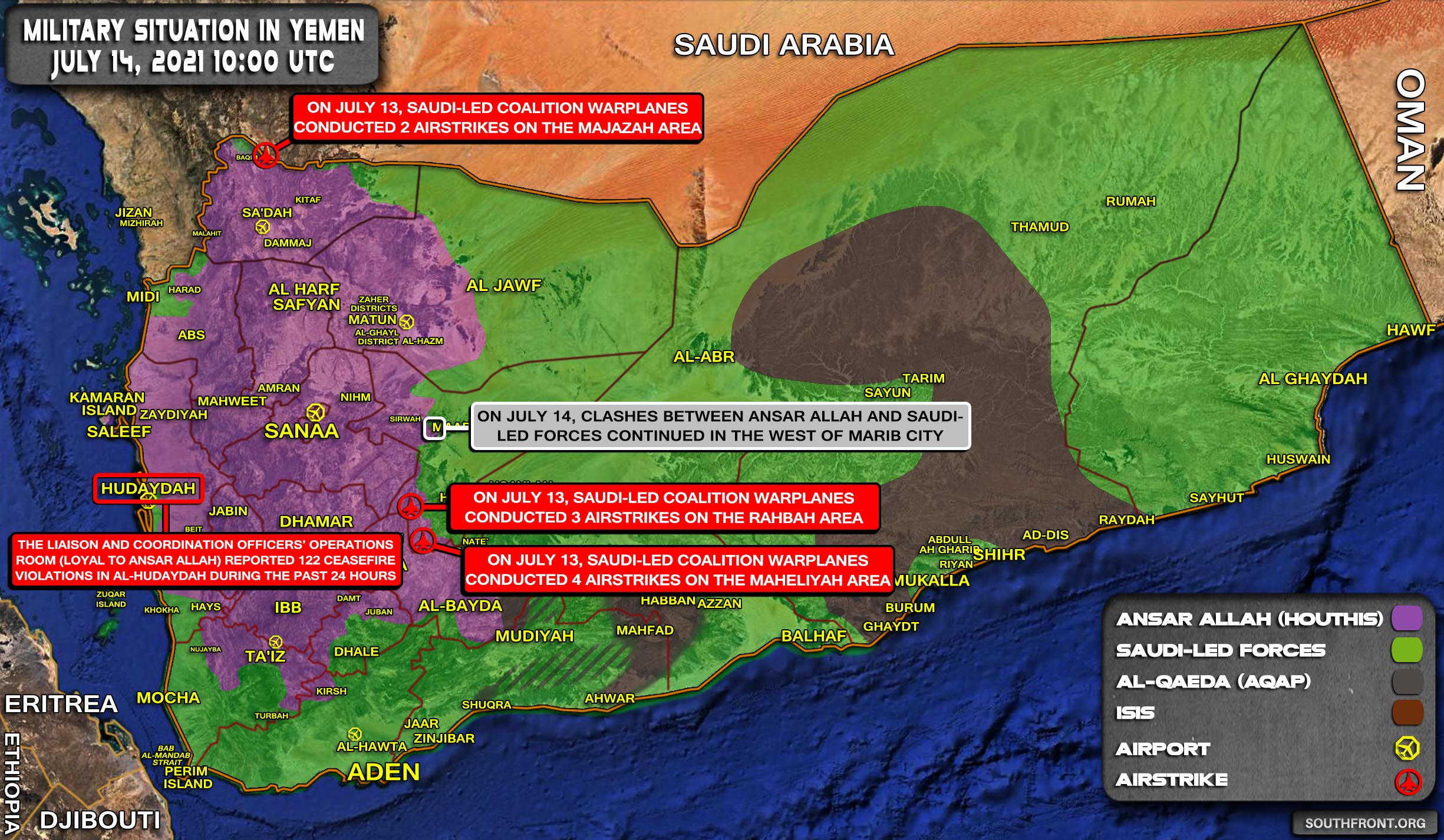 Military Situation In Yemen On July 14, 2021 (Map Update)