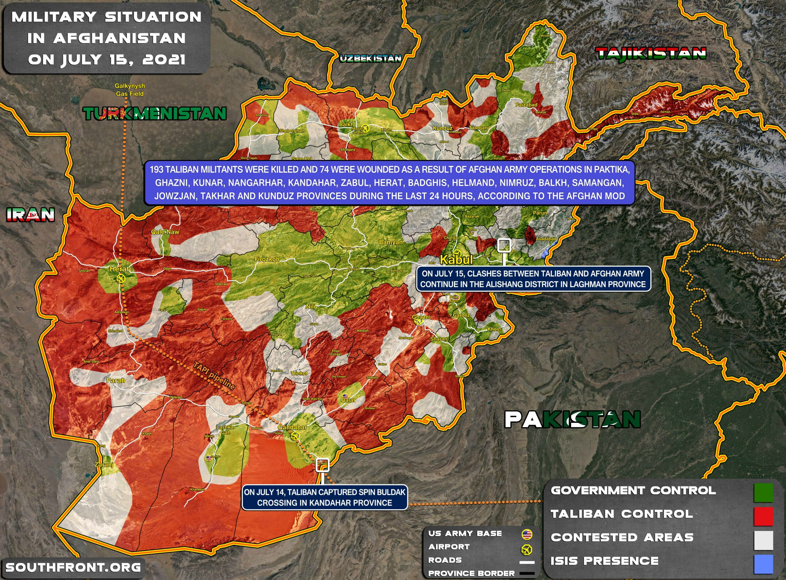 Military Situation In Afghanistan On July 15, 2021 (Map Update)